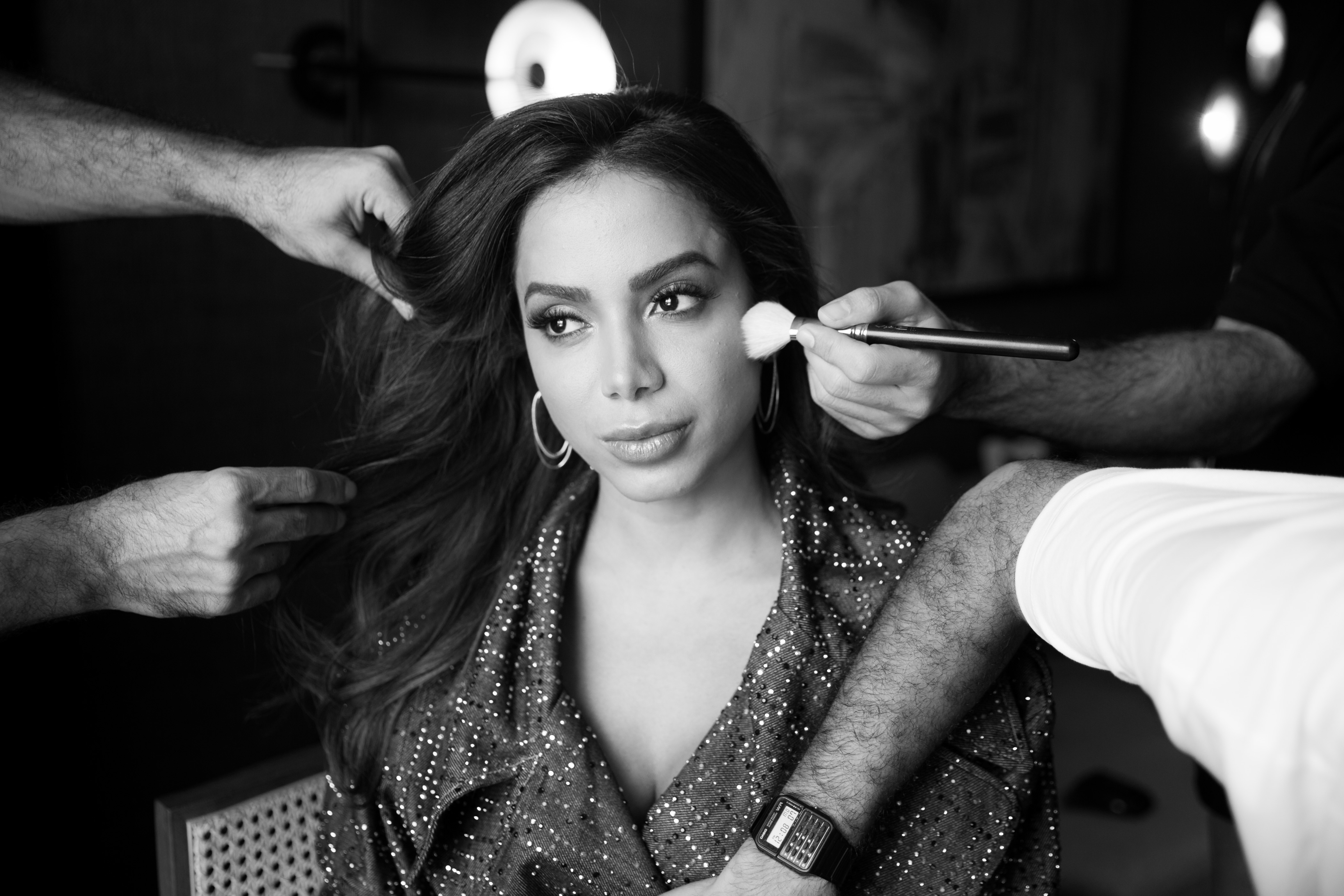 Brazilian singer Anitta having her hair and make-up done