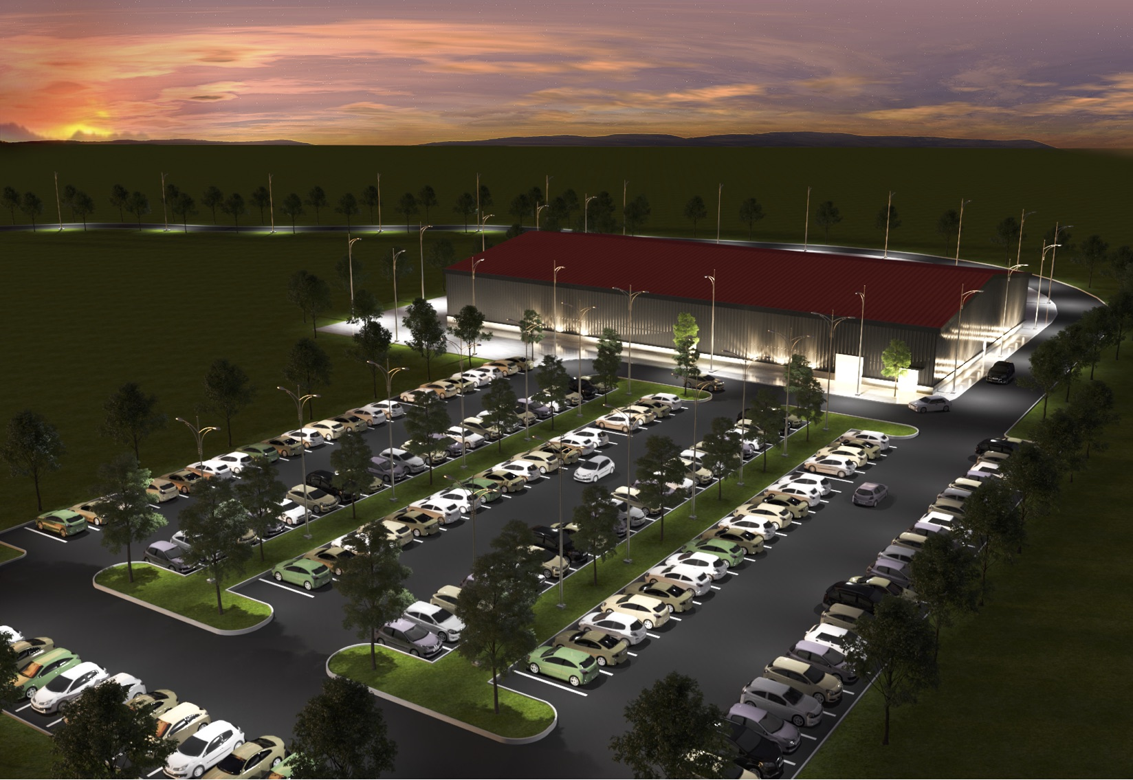 Rendering of indoor sports facility with parking lot.