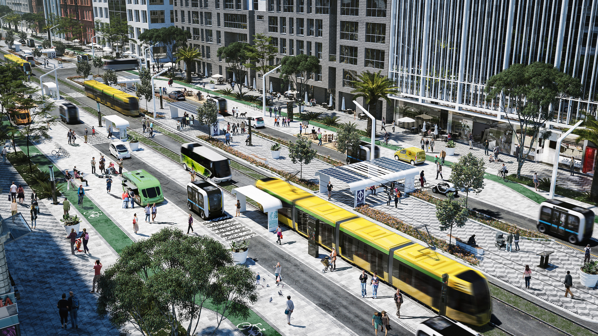 This rendering is based off of concepts in the NACTO Blueprint for Autonomous Urbanism, guidelines to help cities take a people-first approach for new mobility technology.