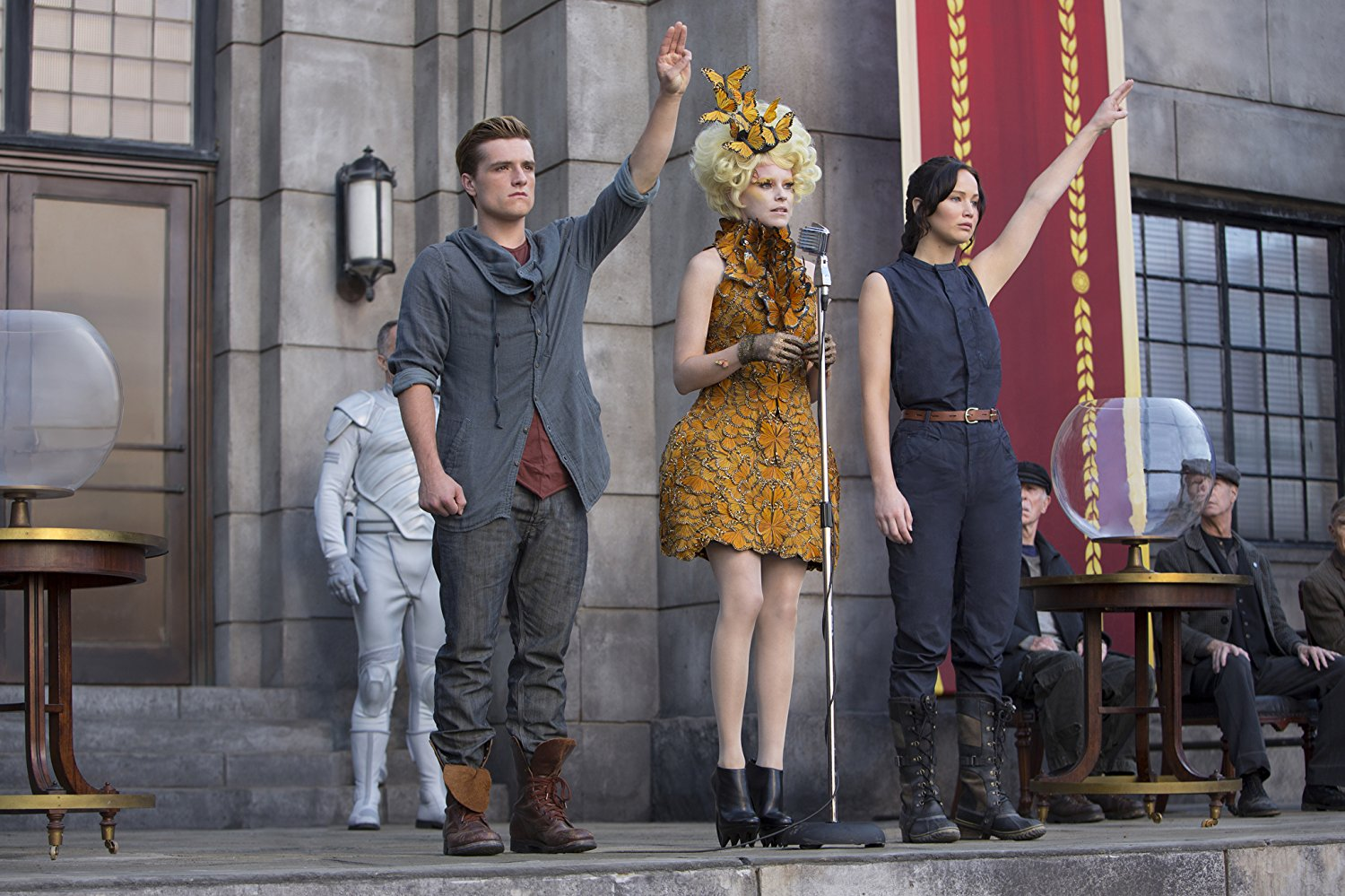Scene depicting Effie choosing Peeta and Katniss to reenter the Hunger Games in the second volume of the series.