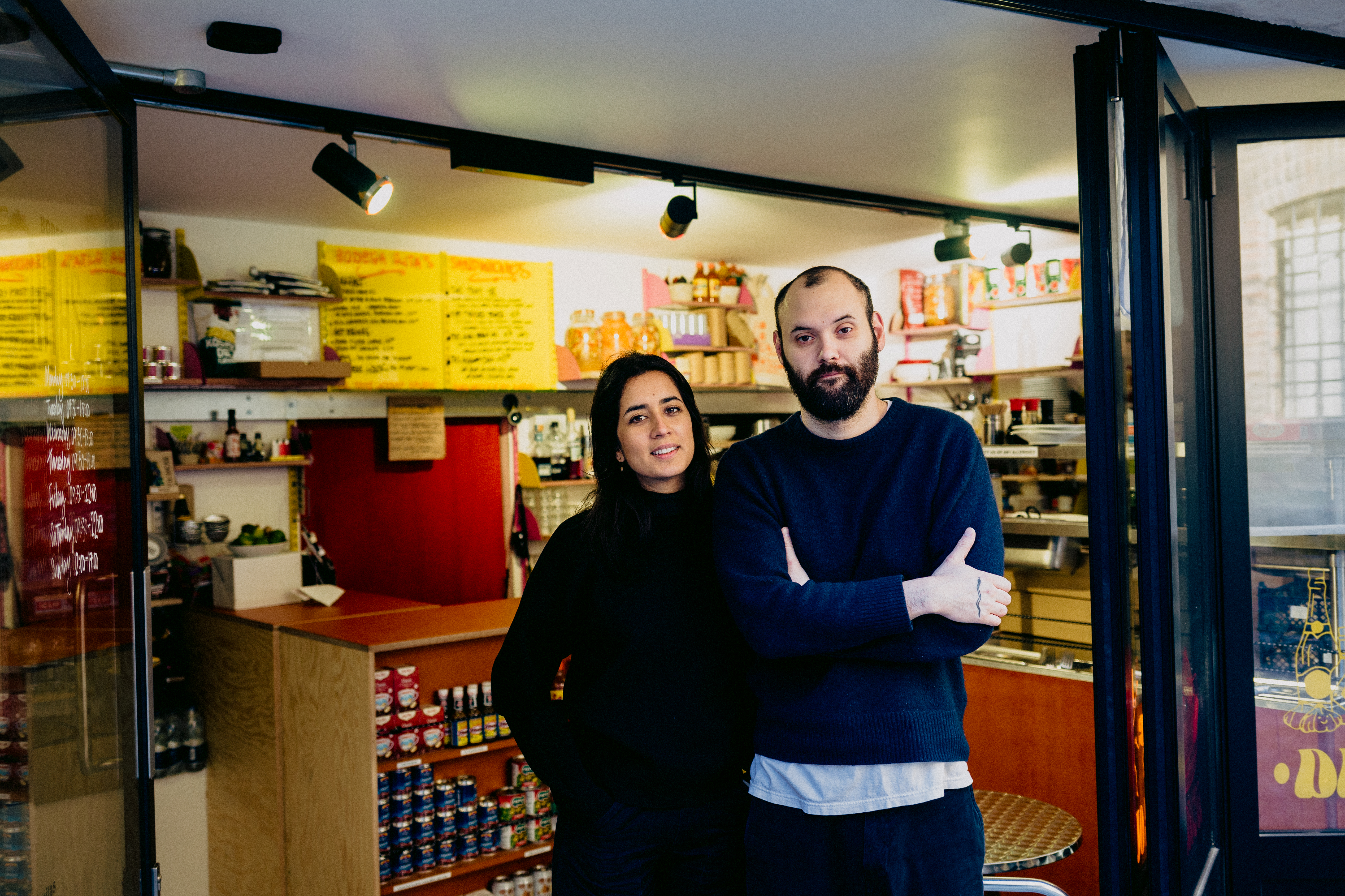 Bodega Rita's at Coal Drops Yard, King's Cross: Missy Flynn and Gabe Pryce outside their sandwich shop and deli