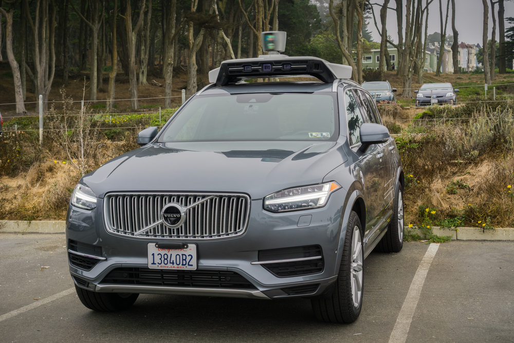 A self-driving Uber car, parked.