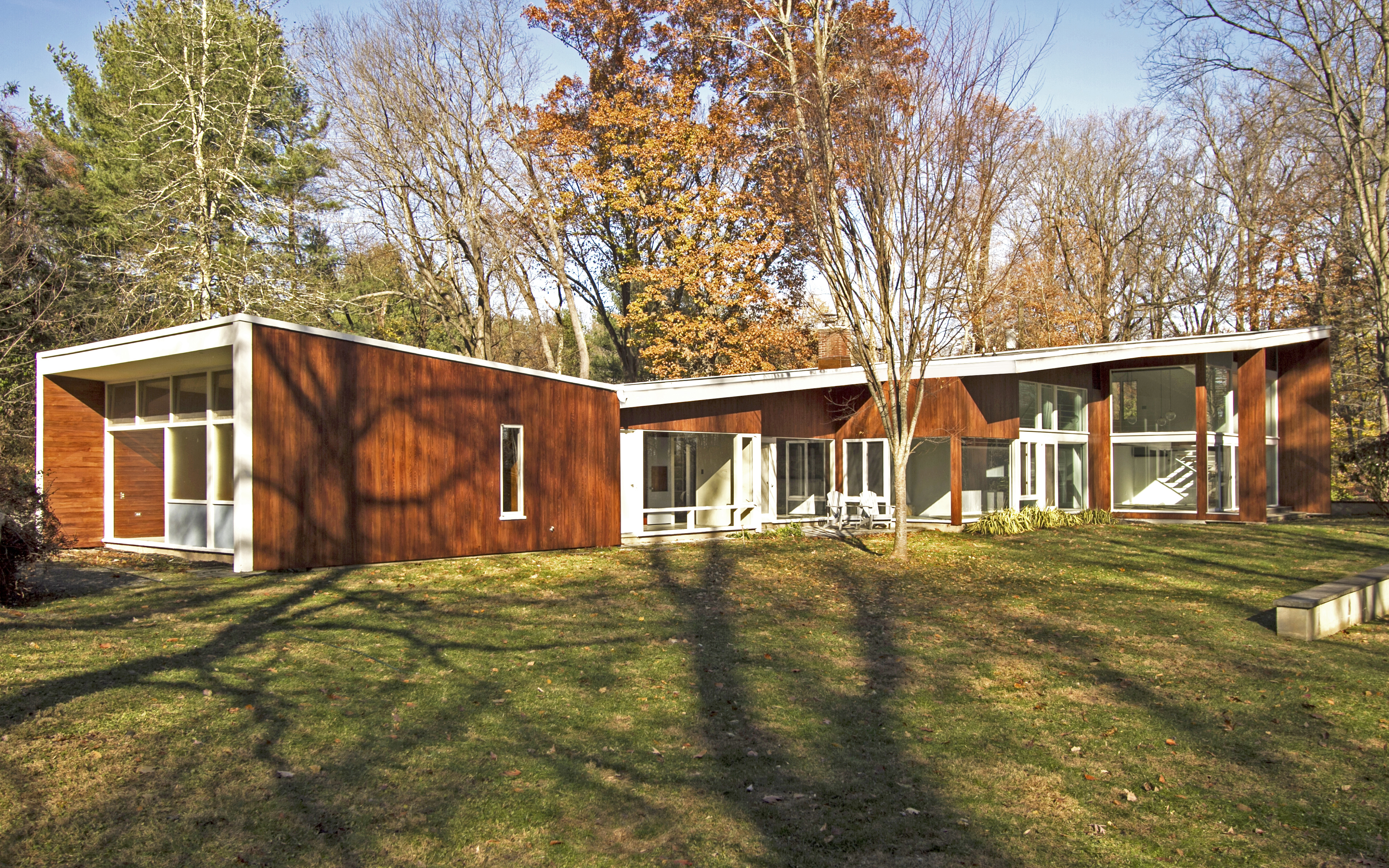midcentury house with butterfly roof
