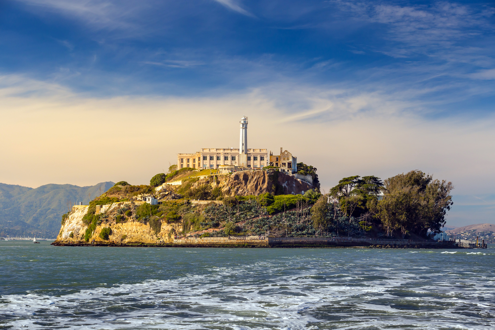 Alcatraz on a sunny day, as seen from the bay.
