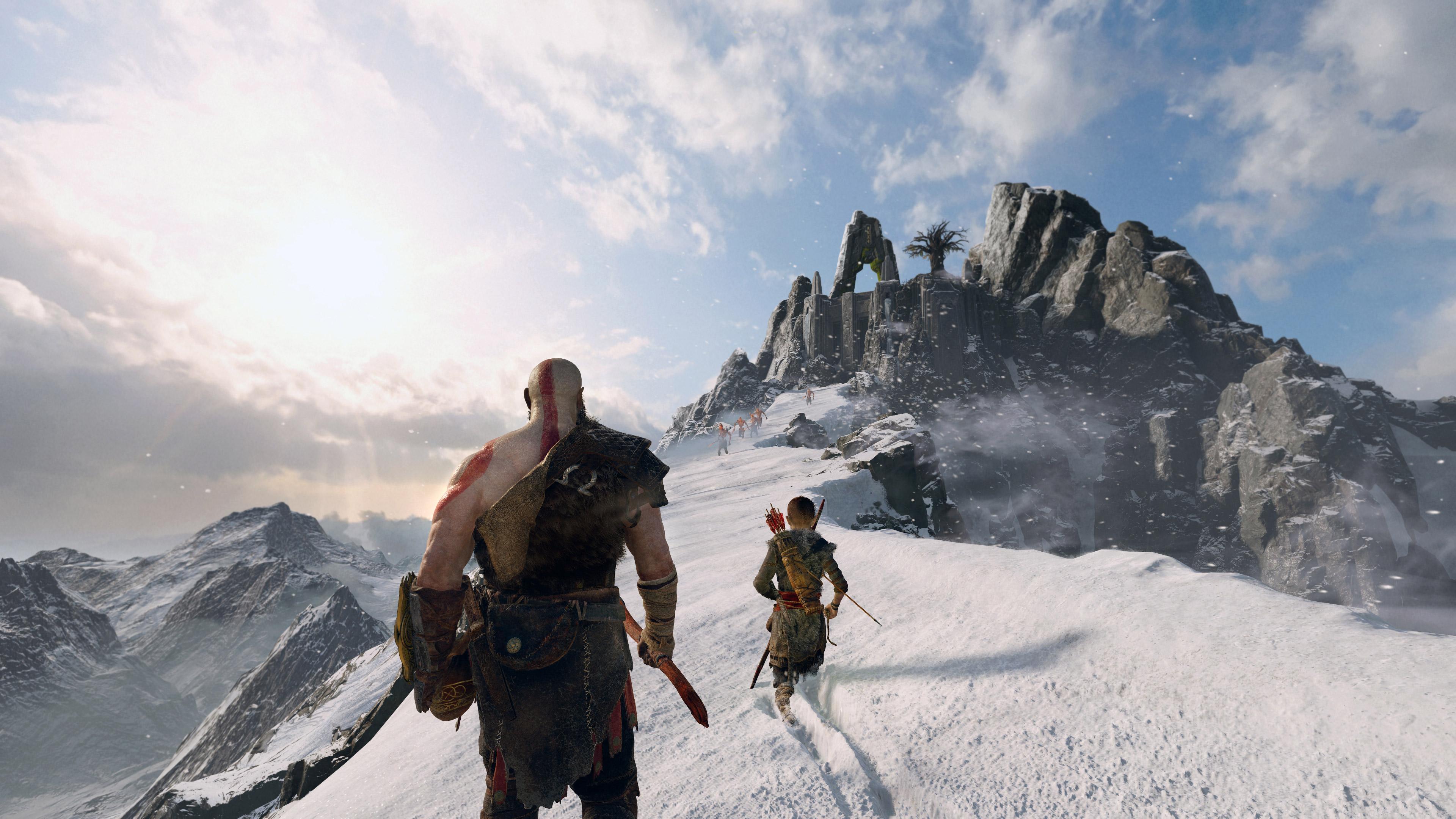 God of War - Kratos and Atreus walking through the snow