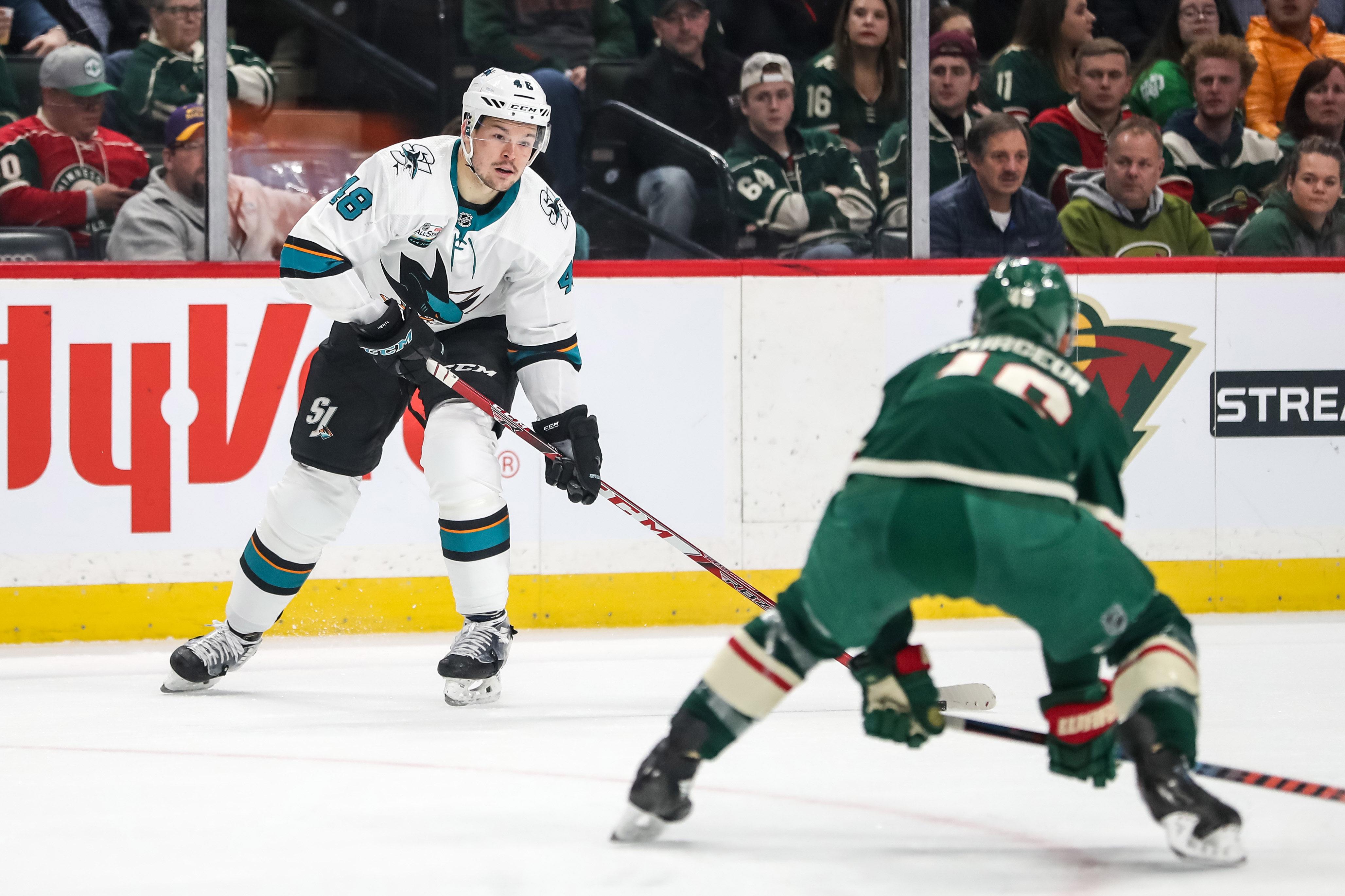 Dec 18, 2018; Saint Paul, MN, USA; San Jose Sharks forward Tomas Hertl (48) looks to pass during the first period against the Minnesota Wild at Xcel Energy Center. Mandatory Credit: Brace Hemmelgarn