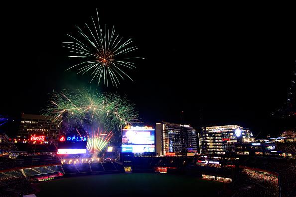 Fireworks explode over the Braves Stadium.