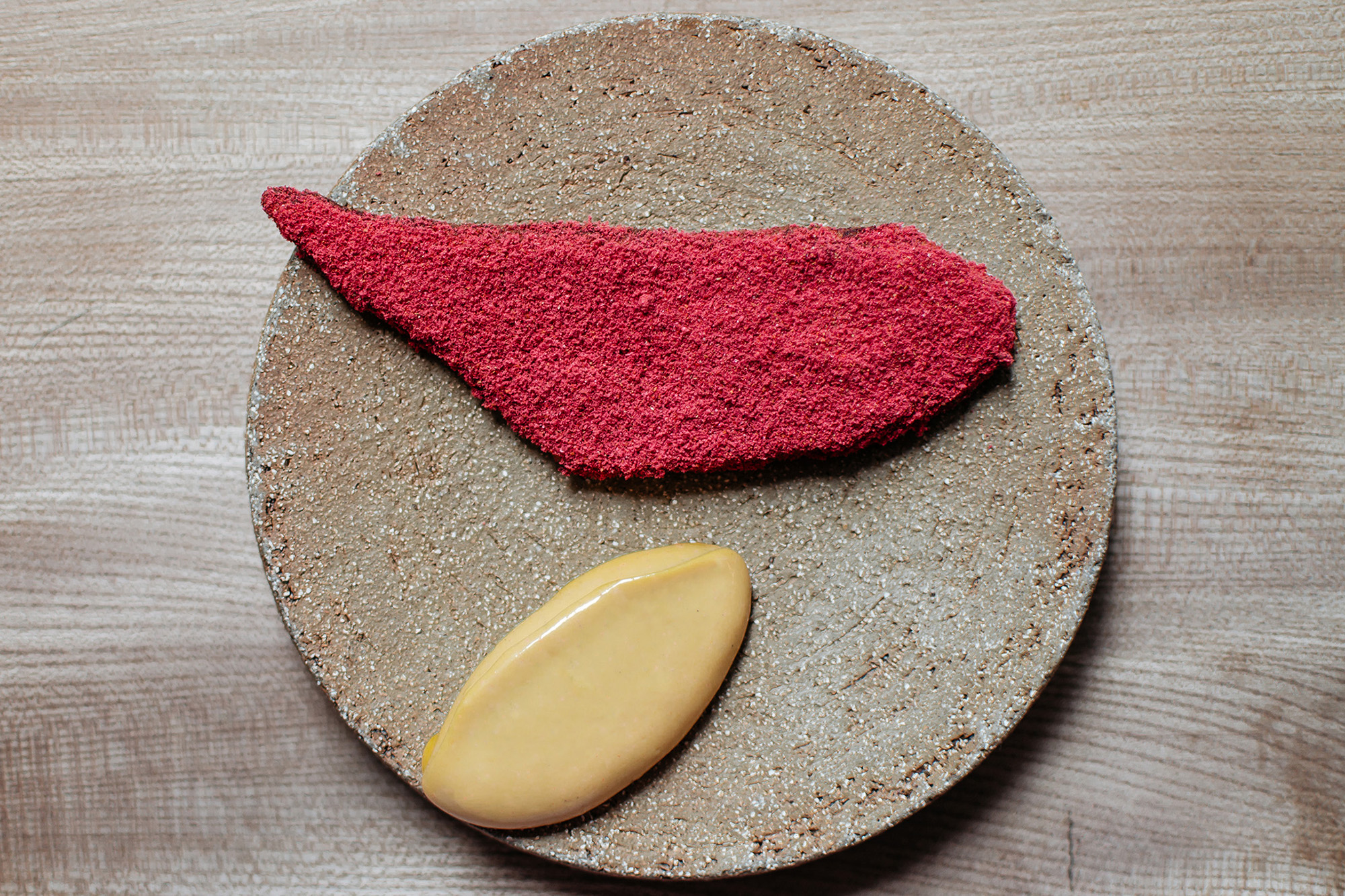 Plantain, raspberry salt and smoked scotch bonnet chilli from the tasting menu at Michelin-starred Ikoyi restaurant in London