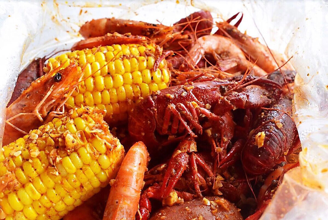 Boiled seafood and corn from Shaking Seafood