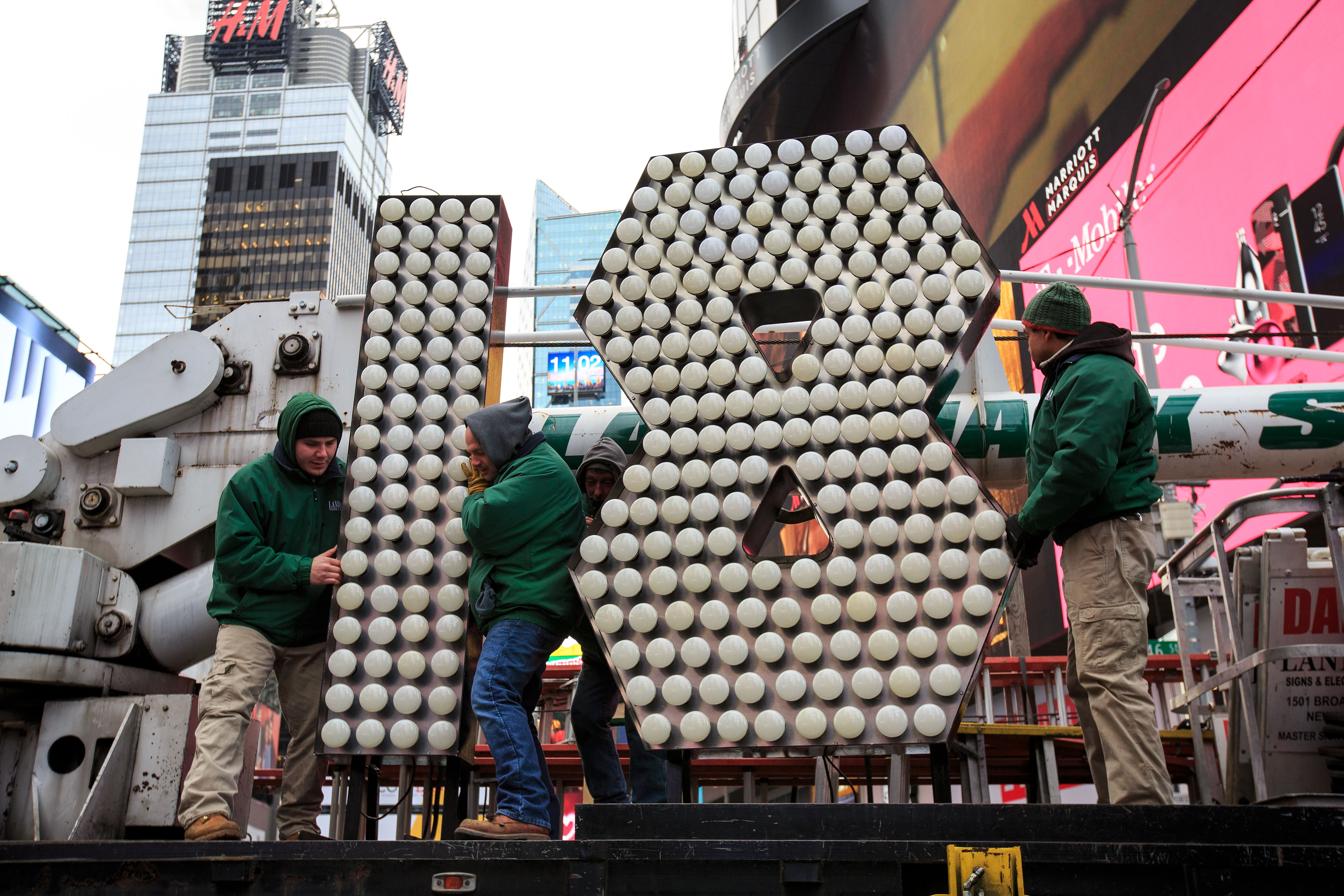 The numeral 18 depicted in lightbulbs for New York City's annual New Year's Eve Celebration in Times Square.