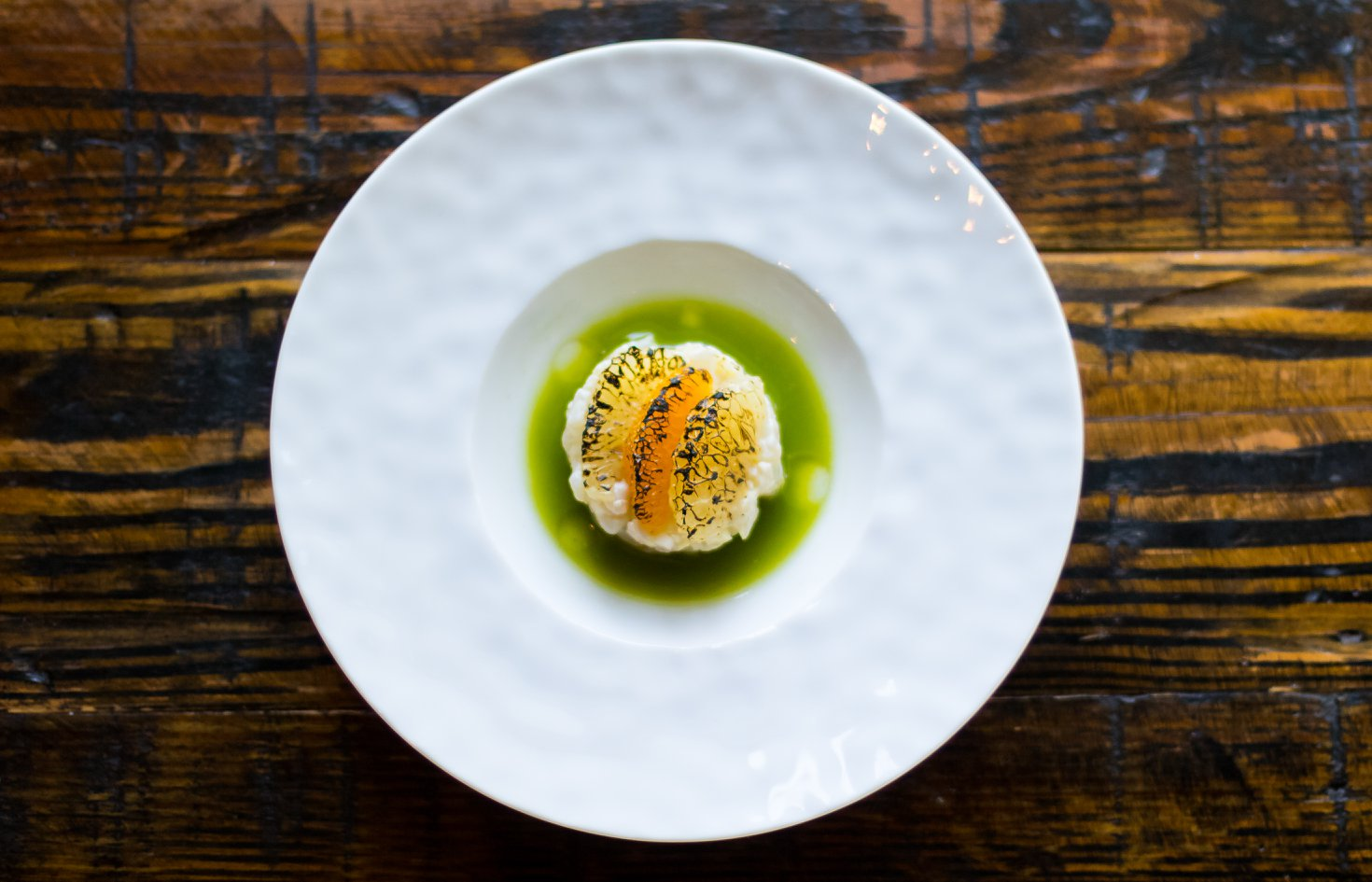 Gulf snapper tartare, kholrabi, and herb nage from Lazy Betty