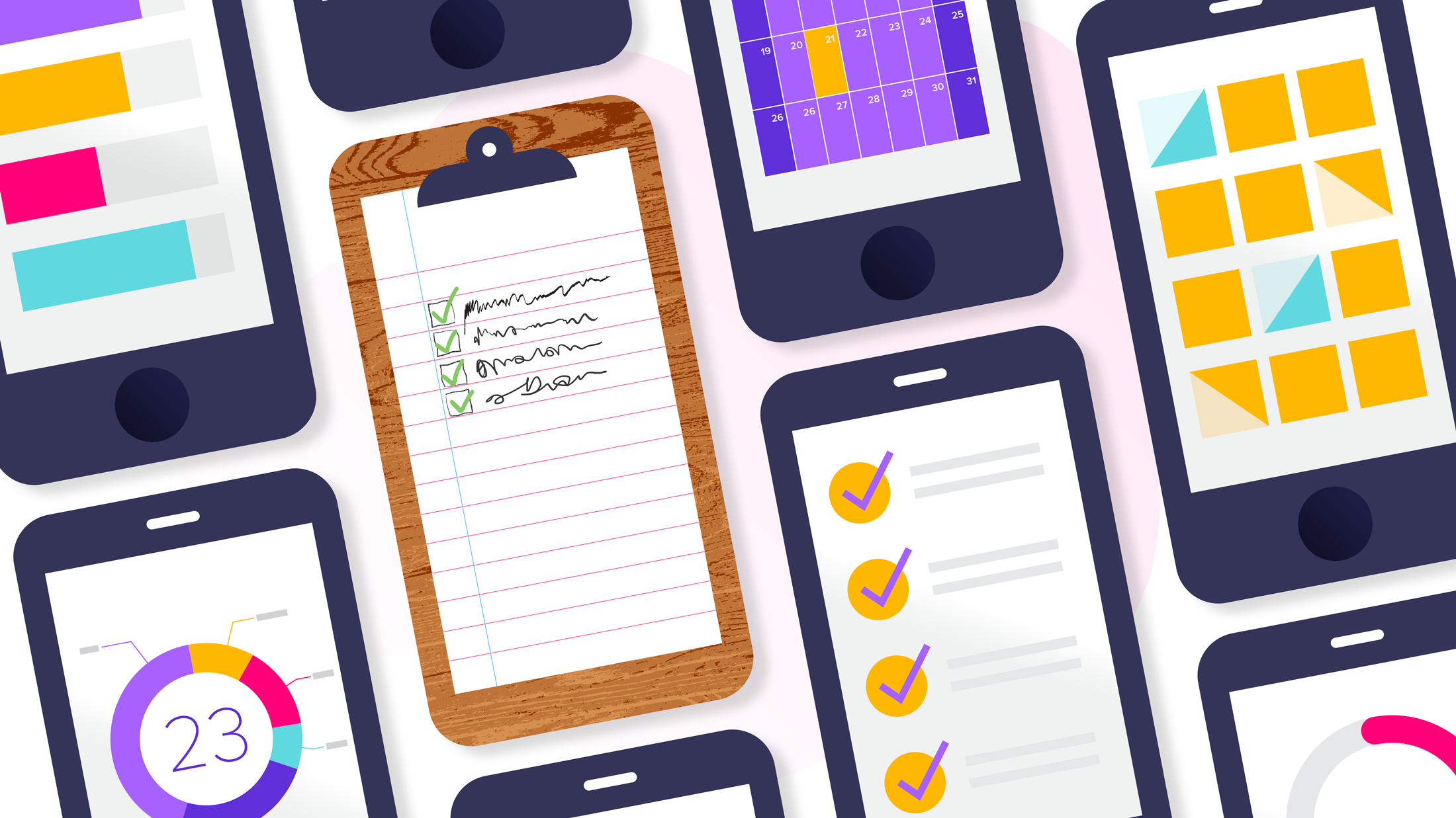 A drawing depicting a clipboard with a to-do list surrounded by smartphone screens showing to-do list apps.