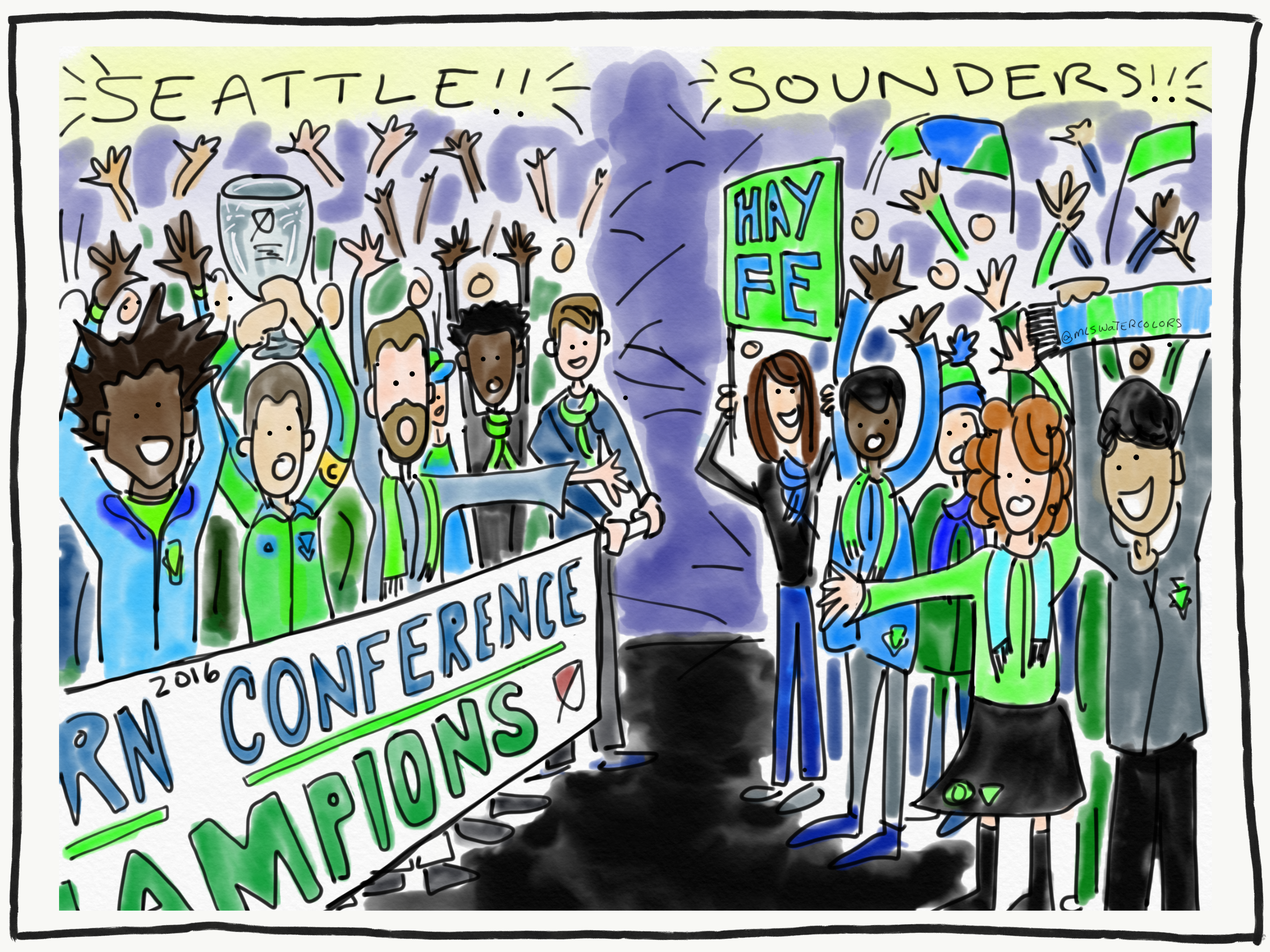 Seattle Sounders at the airport