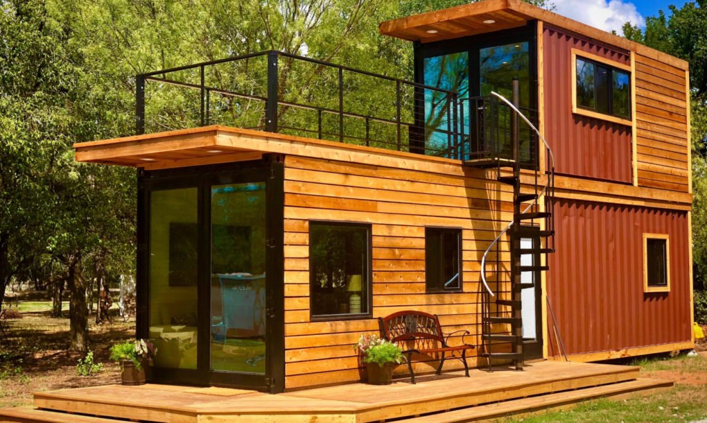 Wood clad shipping container house