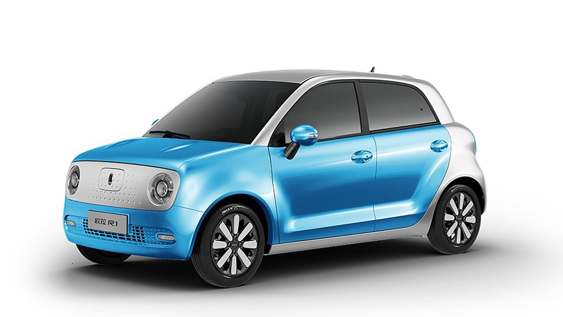 Rendering of blue and white compact car