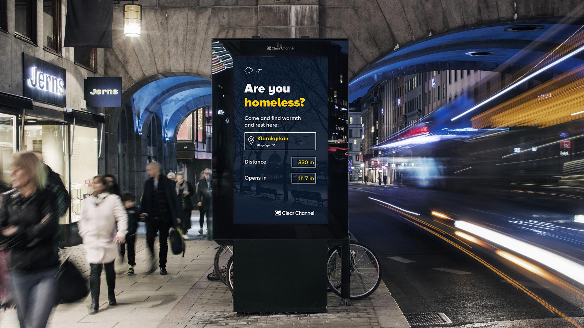 Stockholm's digital billboards now help the homeless find shelter during freezing weather