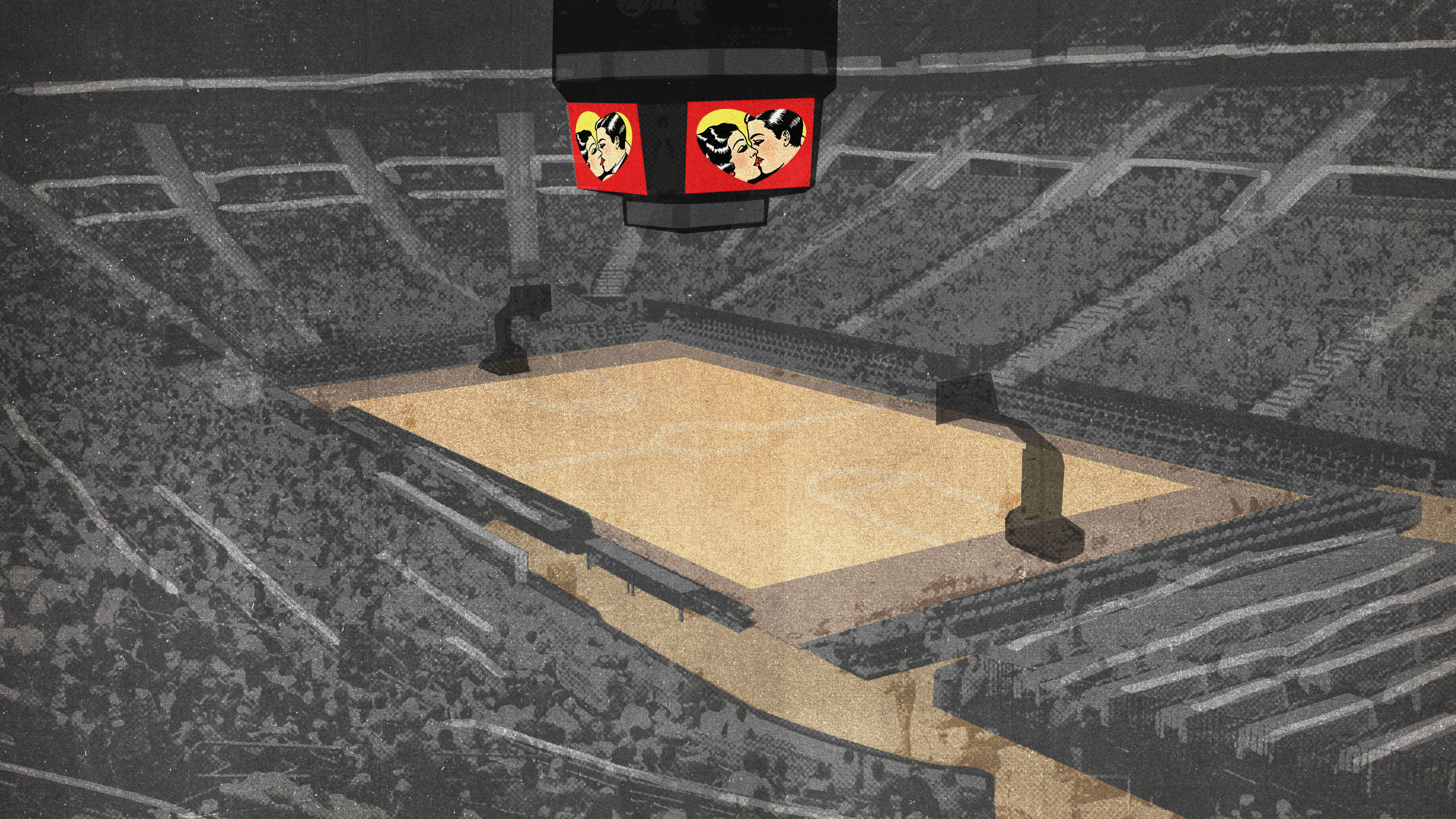 Illustration of an arena with a kiss cam on the Jumbotron