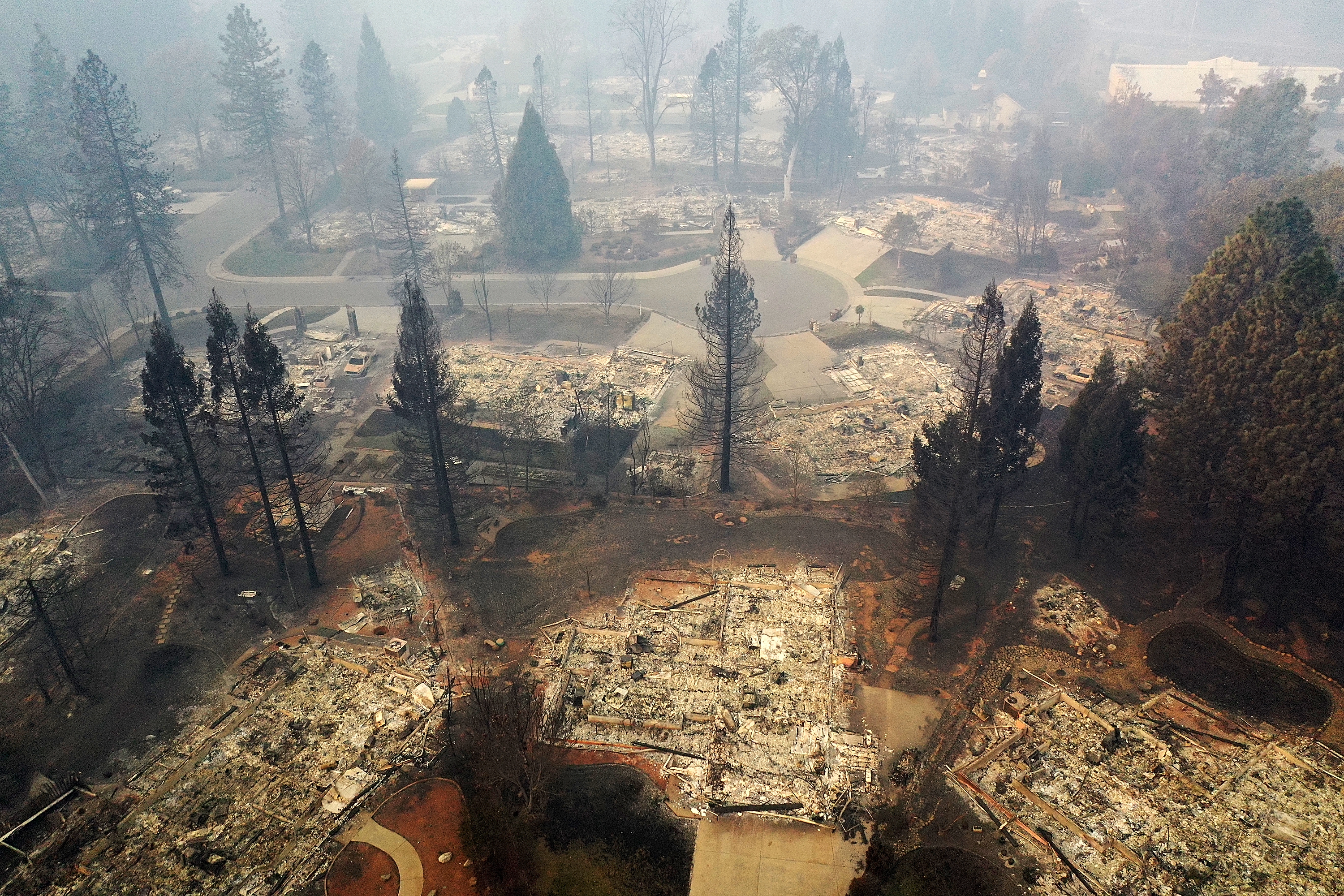 An aerial view of a neighborhood destroyed by the Camp Fire.