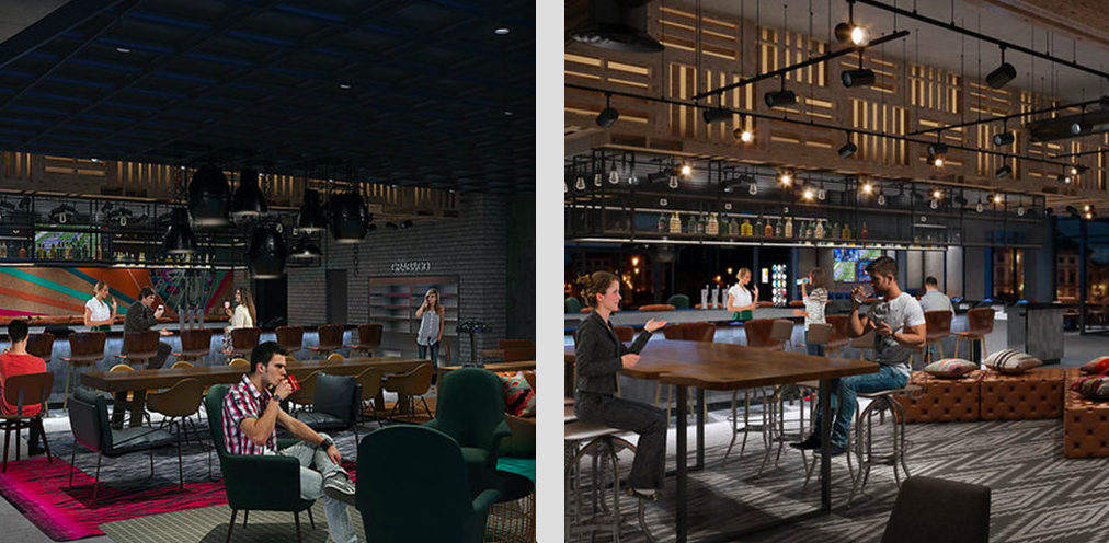 The Moxy lobby, left, and bar, in renderings.