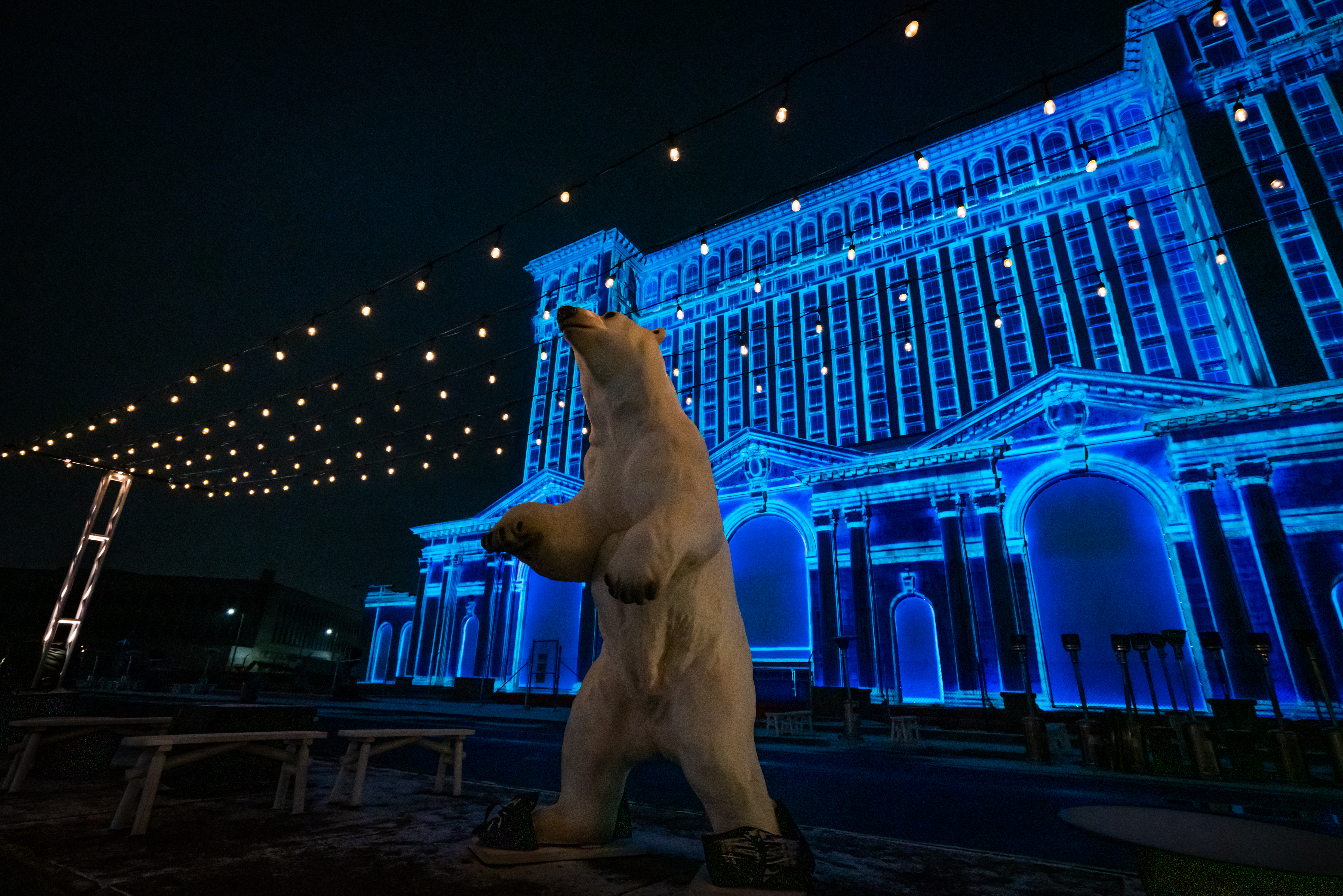 A Winter Festival lands outside of Michigan Central Station