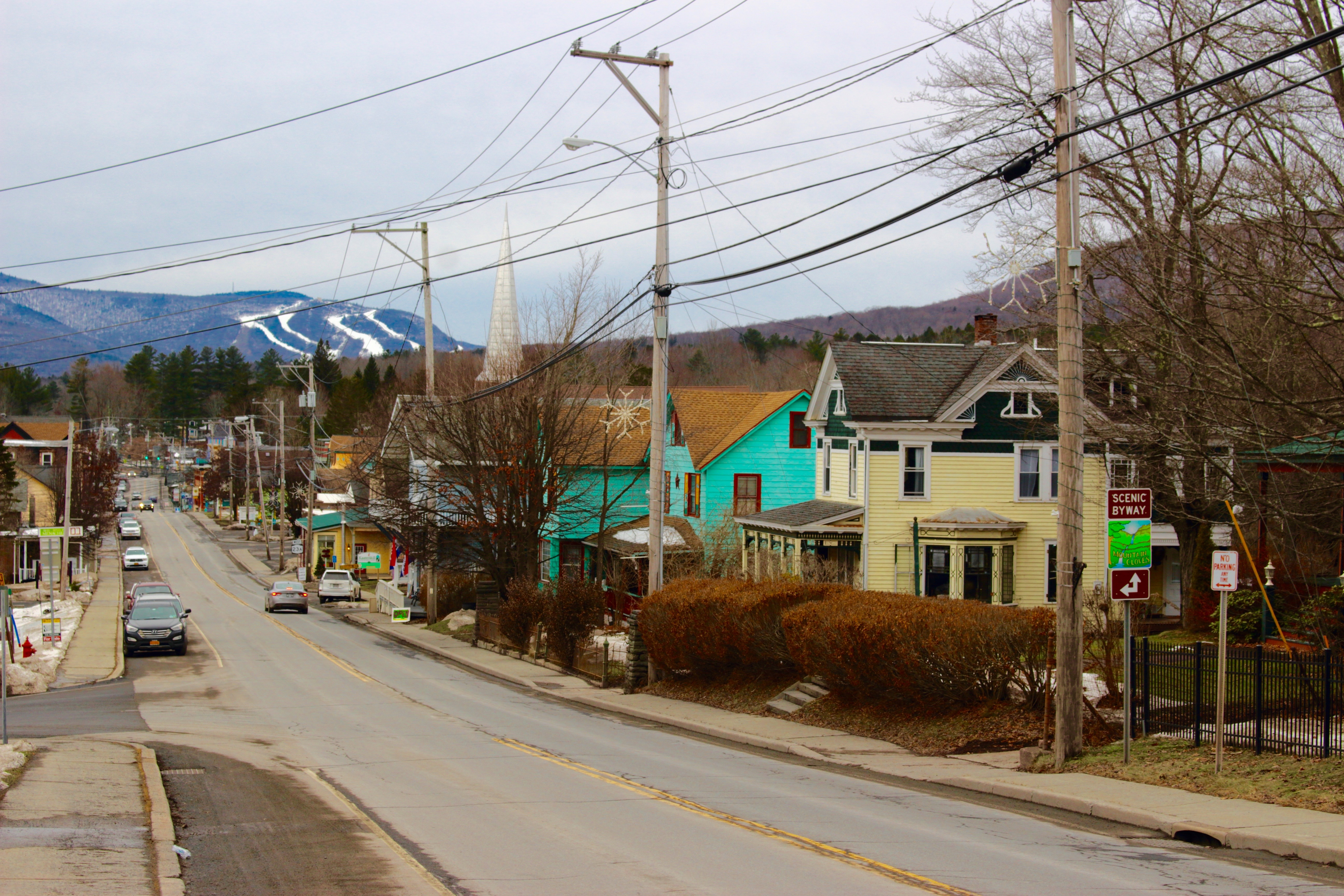 Downtown Tannersville looking up to Hunter Mountain