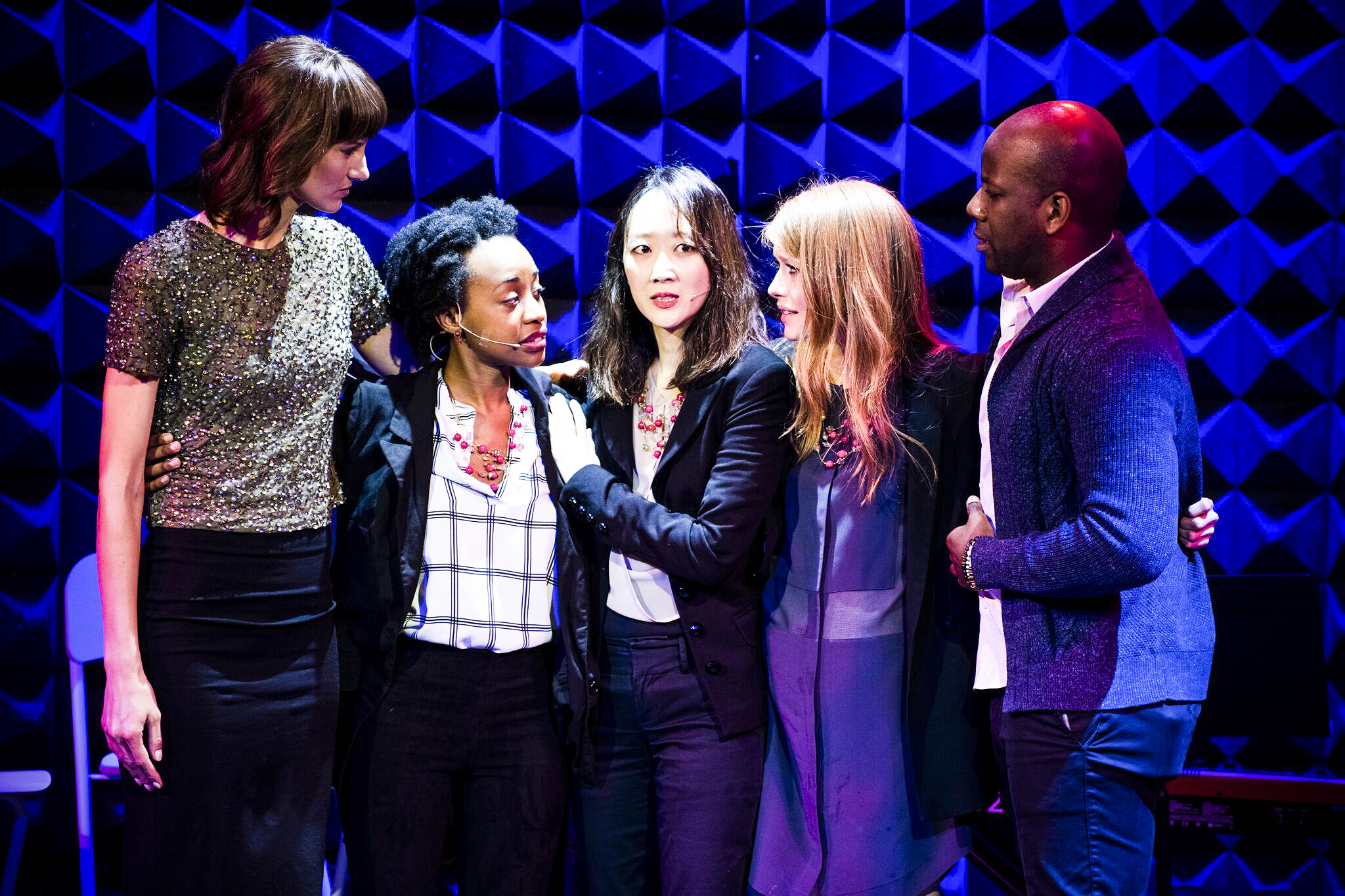 """Rachel Crooks (left) with cast members from """"The Pussy Grabber Plays"""" on January 14, 2019 at Joe's Pub in Manhattan"""