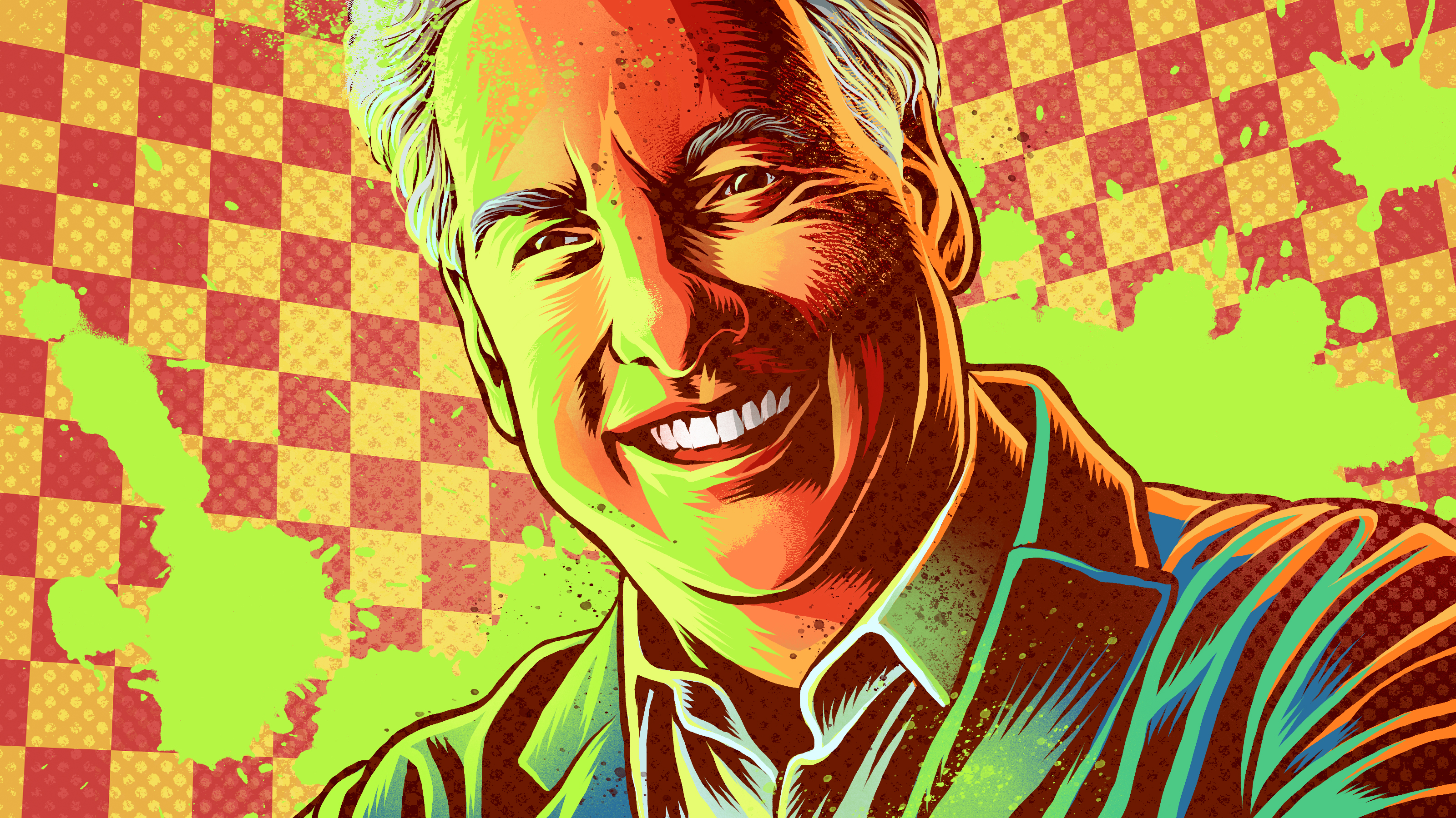 Marc Summers against a slime-splattered checkered background