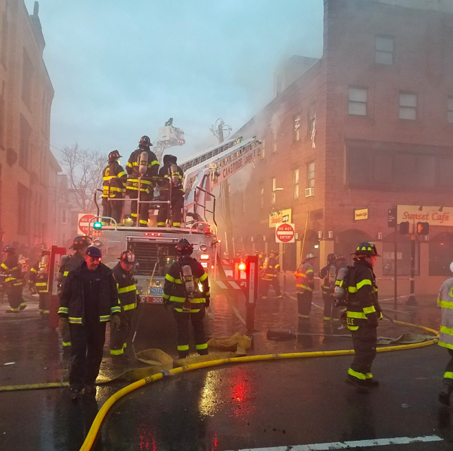 Firefighters outside Sunset Cafe