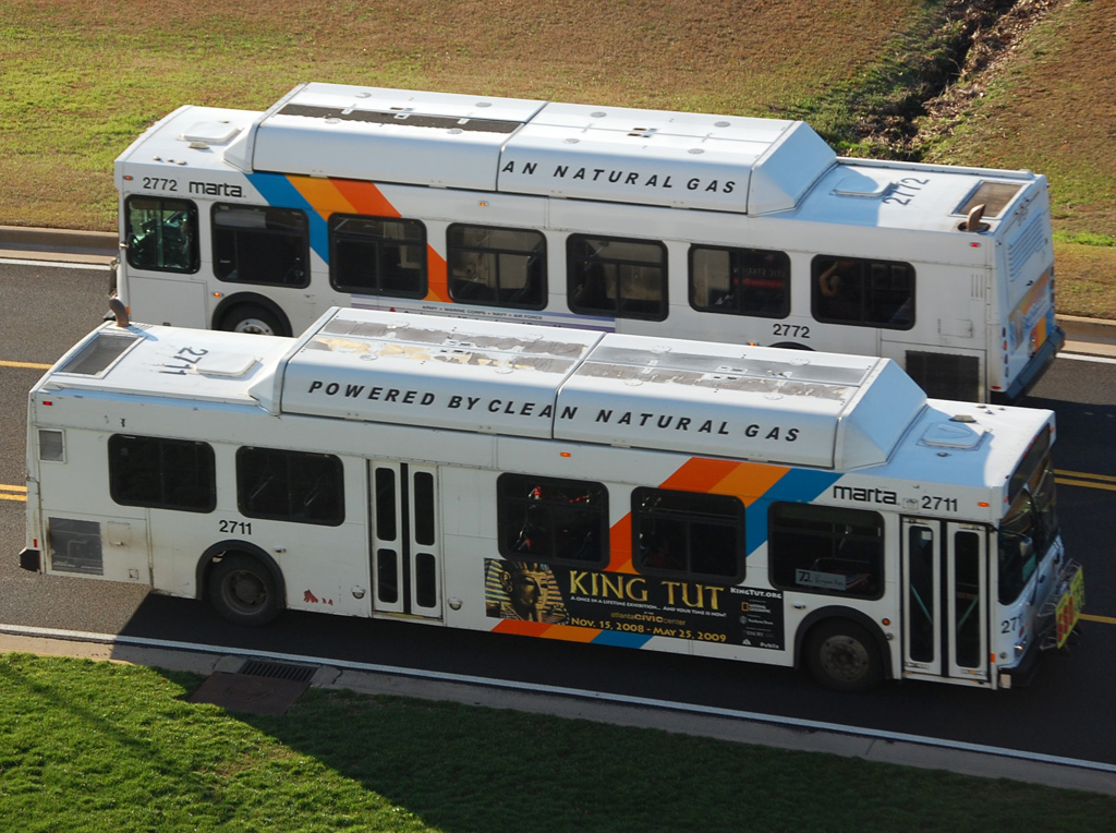 Two MARTA buses passing each other.