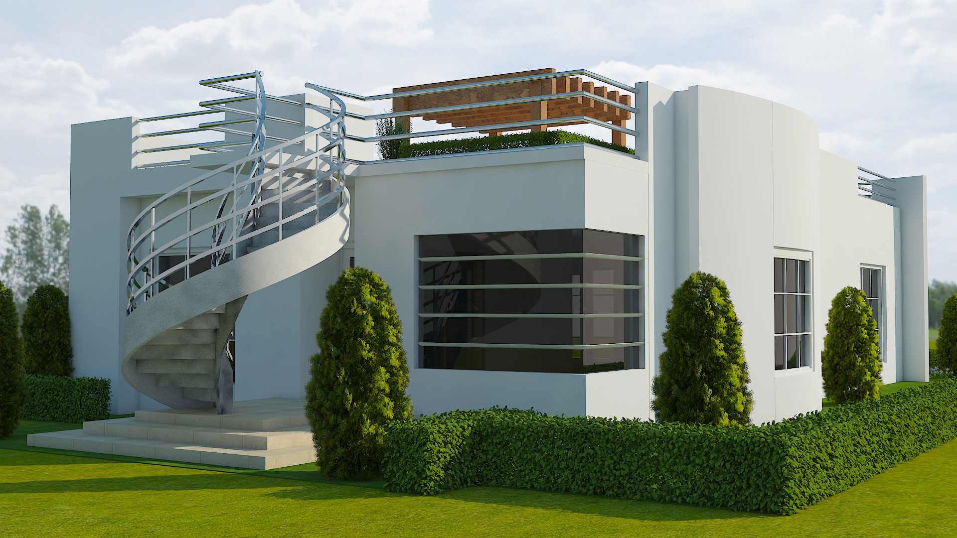 Rendering of two-story, white, concrete home with a curved staircase in front