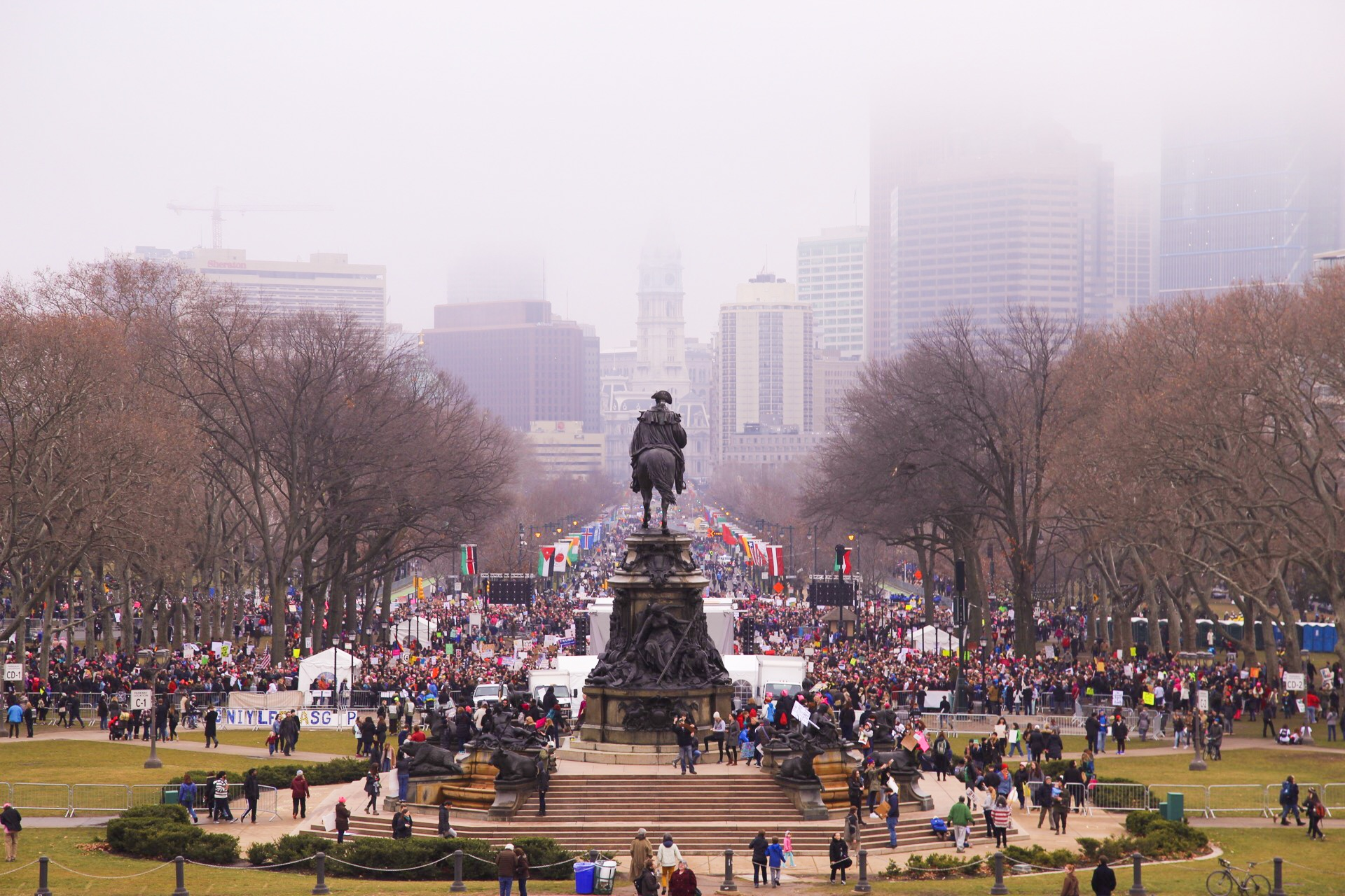 Looking down the Benjamin Franklin Parkway toward Center City with 50,000 people in attendance at the Women's March on Philadelphia.