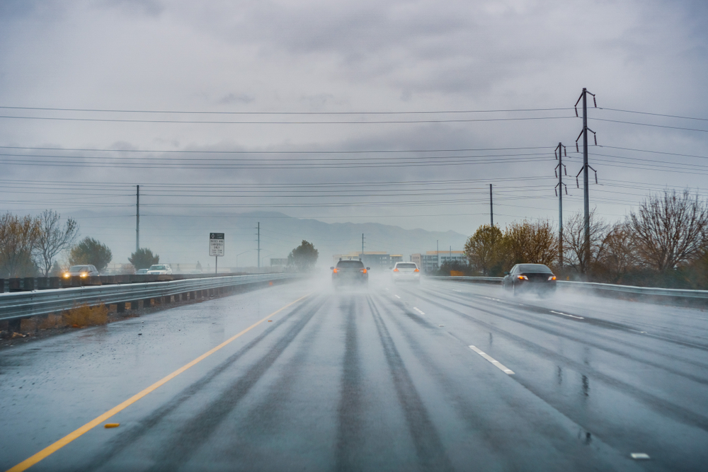 Rain covering a highway in South San Francisco.