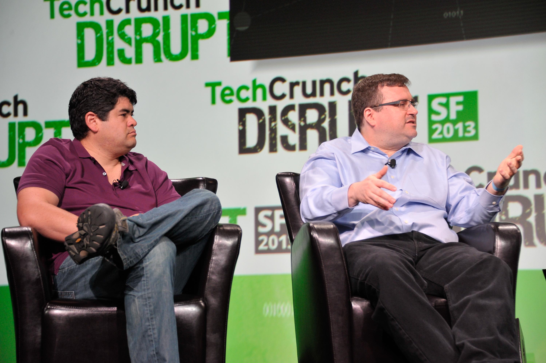Greylock Partners David Sze (left) and Reid Hoffman (right) onstage at TechCrunch Disrupt.