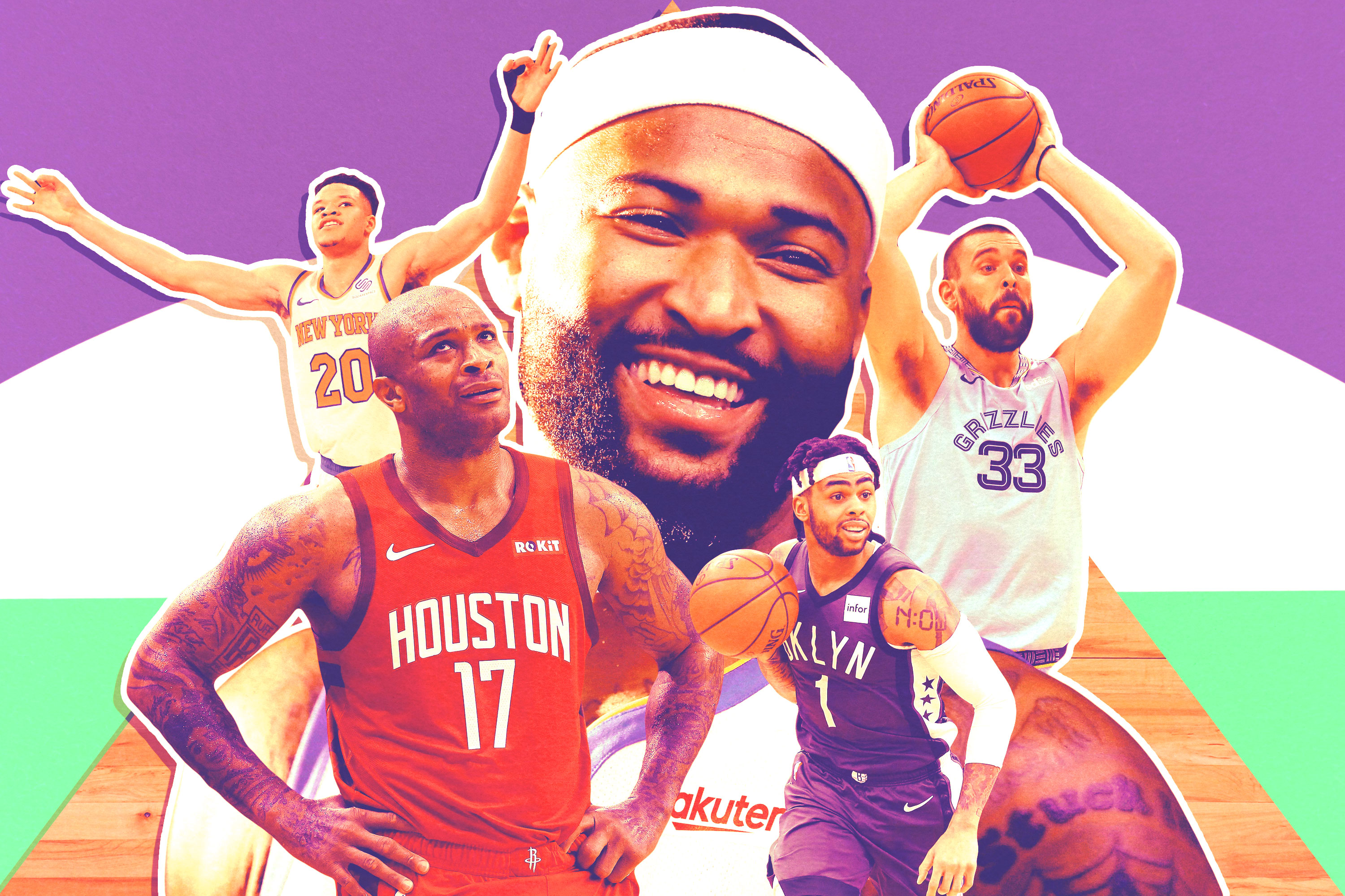 A collage of players from the Knicks, Warriors, Grizzlies, Rockets, and Nets