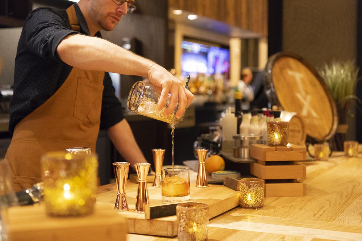 A pour at Bourbon Bar
