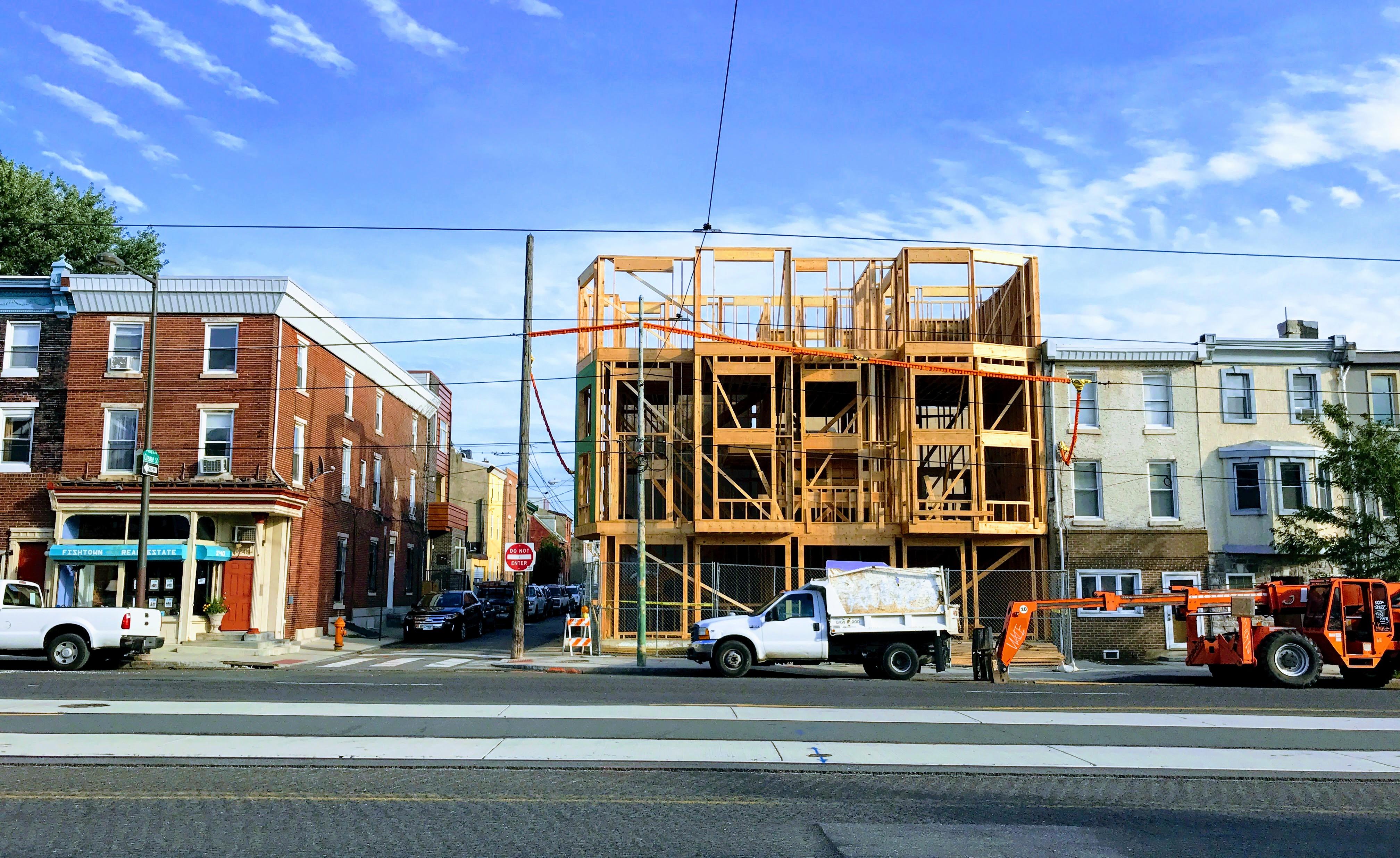 New construction underway on Girard Avenue in Fishtown.