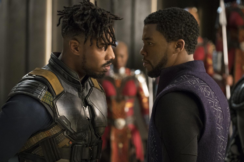 Michael B. Jordan as Erik Killmonger and Chadwick Boseman as King T'Challa in Black Panther.