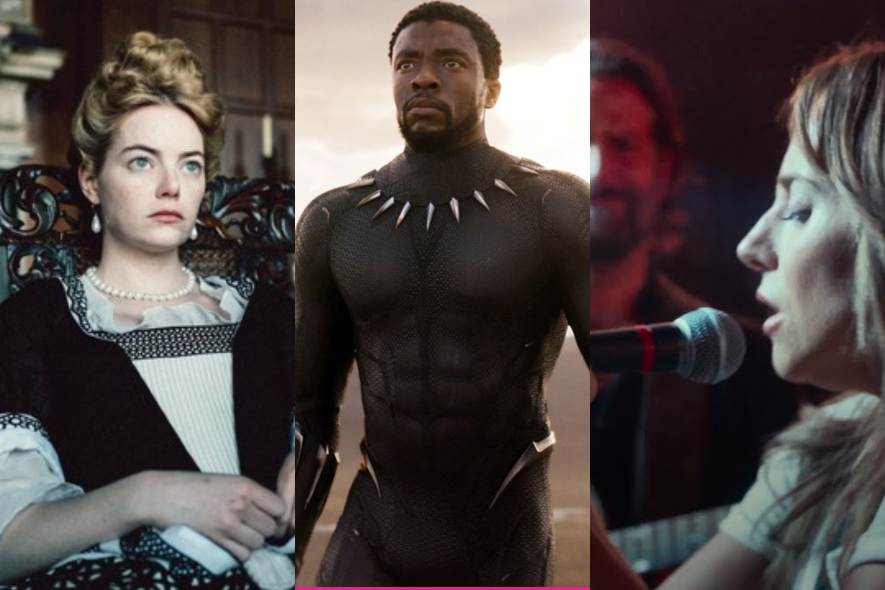 The Favourite, Black Panther, and A Star Is Born are all nominated for multiple Oscars.