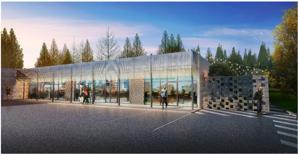 As seen in a rendering, the redesign calls for repurposing asphalt parking, at right, as an outdoor courtyard.