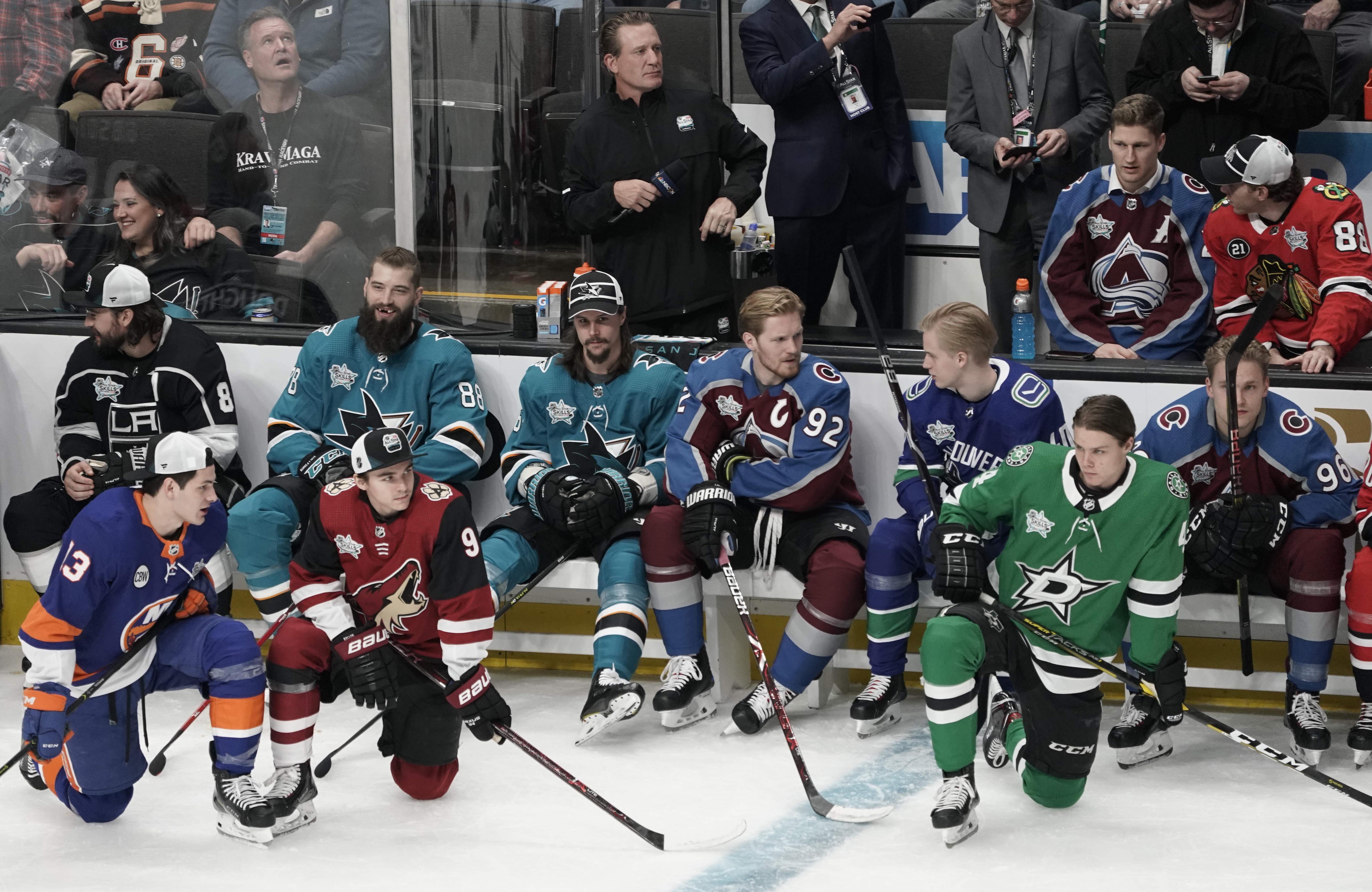 Jan 25, 2019; San Jose, CA, USA; Pacific Division and Central Division players look on in the 2019 NHL All Star Game skills competition at SAP Center.
