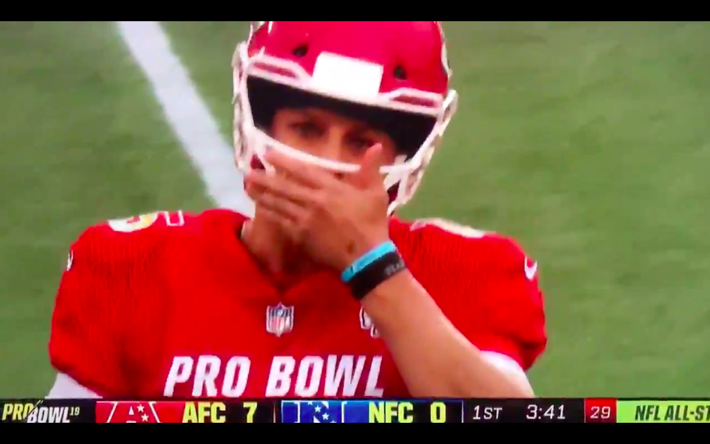 ac514263d54 Patrick Mahomes immediately — and hilariously — regretted the f-bomb he  dropped at the Pro Bowl
