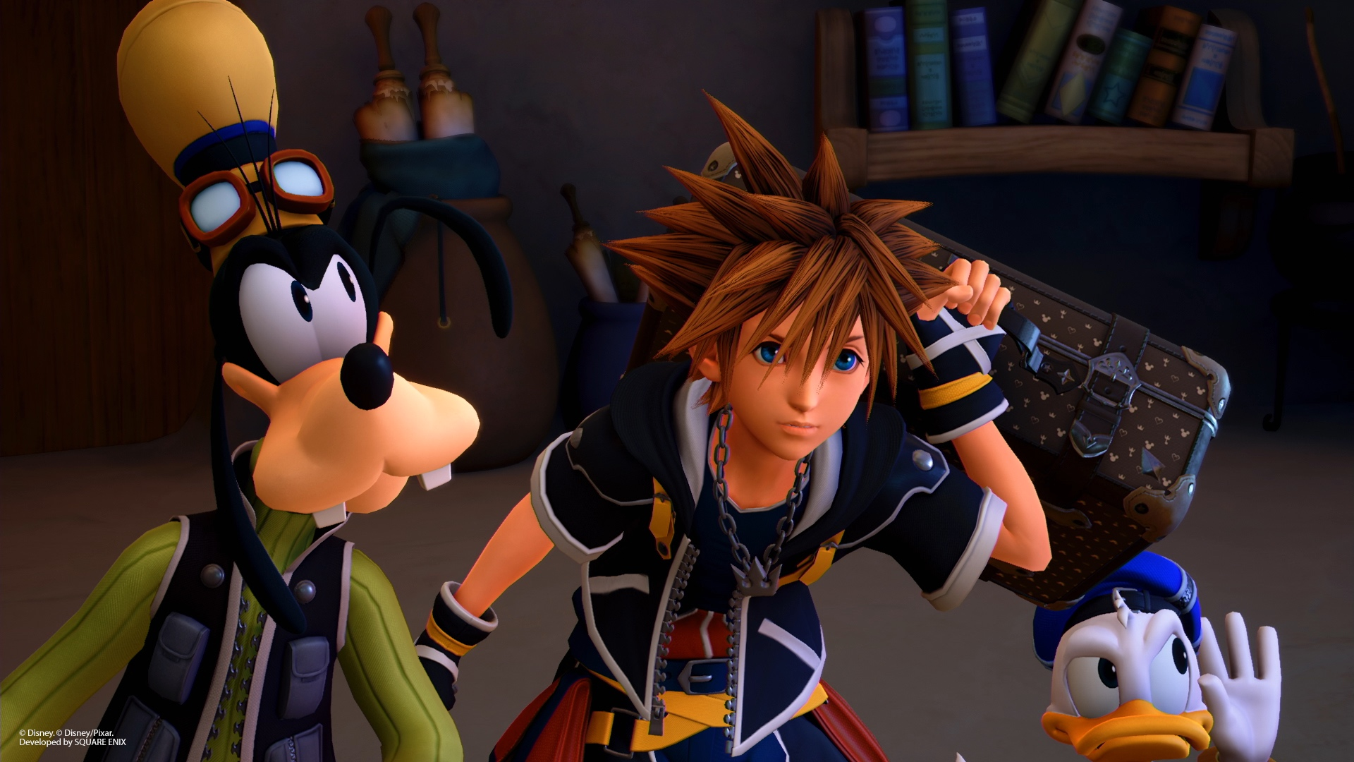 Donald, Goofy and Sora look suspicious in a screenshot from Kingdom Hearts 3.