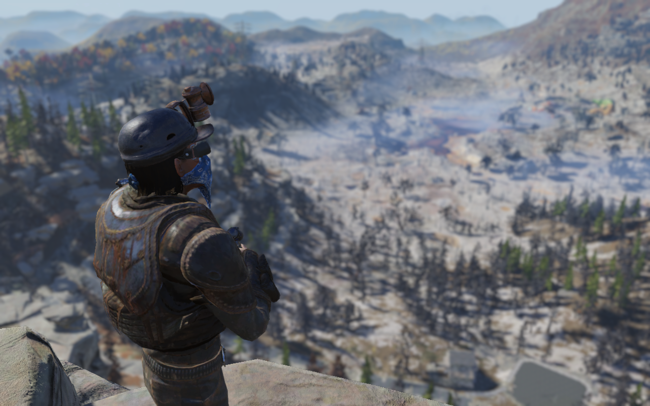 Fallout 76 - a player surveys the in game territory of Appalachia