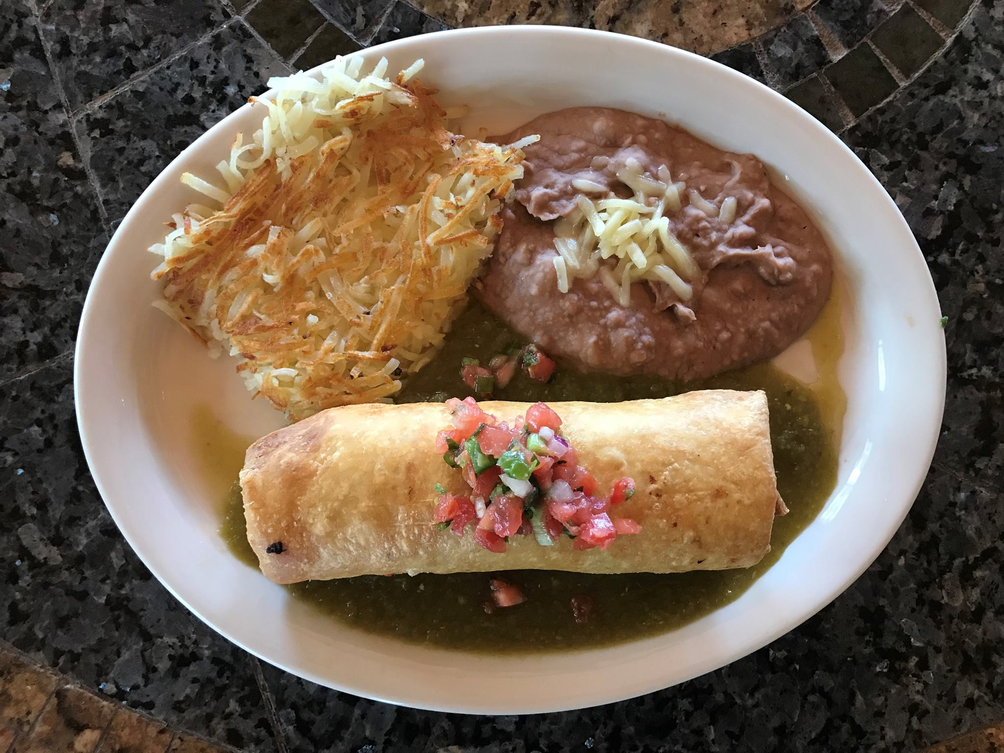 The migas chimichanga at Trudy's