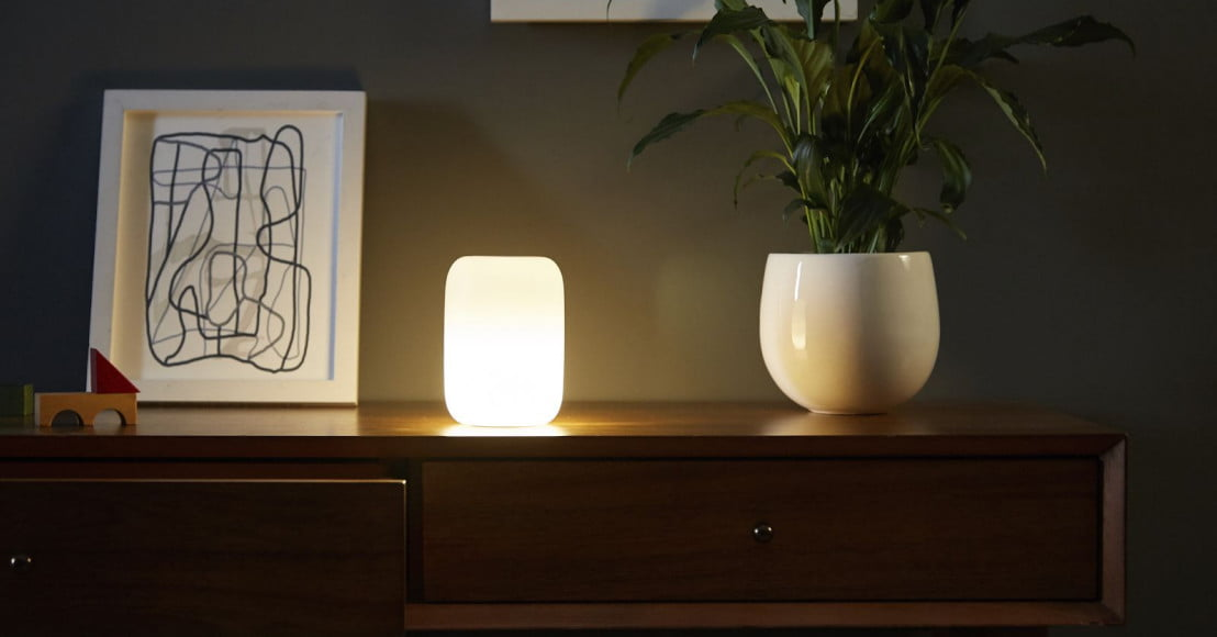 Glowing nightlight on dresser