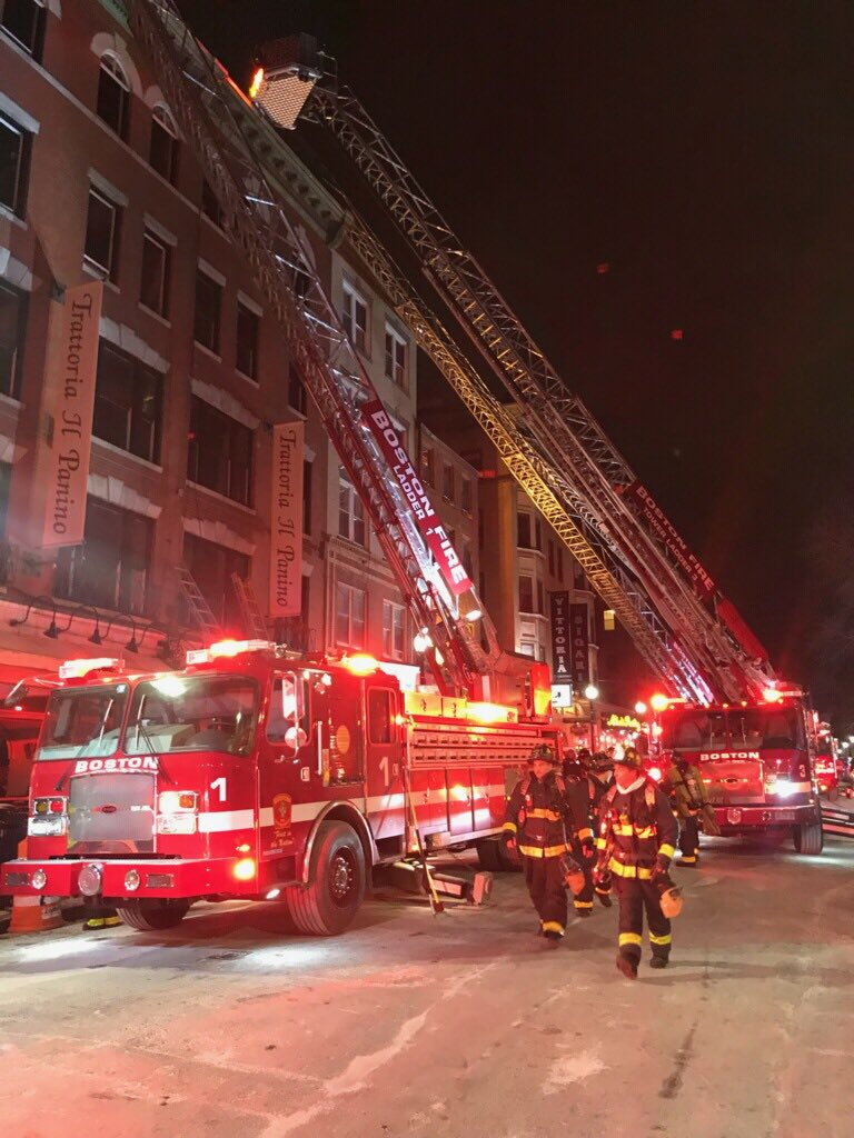 A two-alarm fire struck Trattoria Il Panino on Hanover Street on February 2