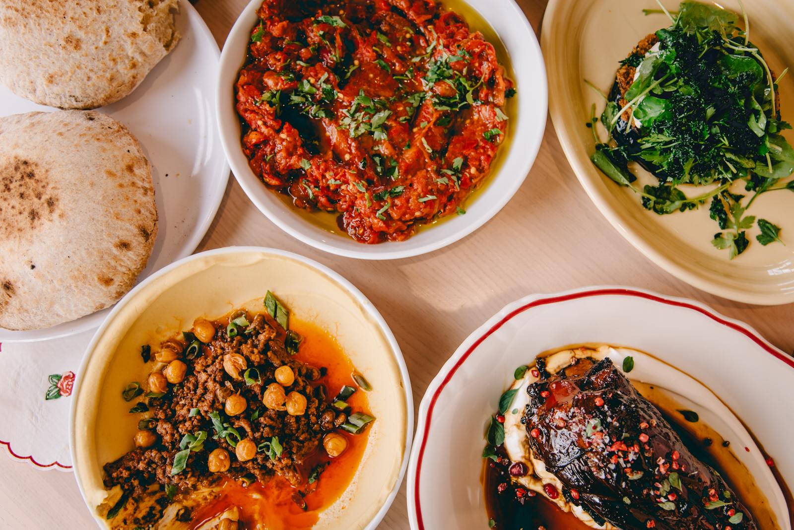 Hummus, lutenitsa, pita, and lamb shank