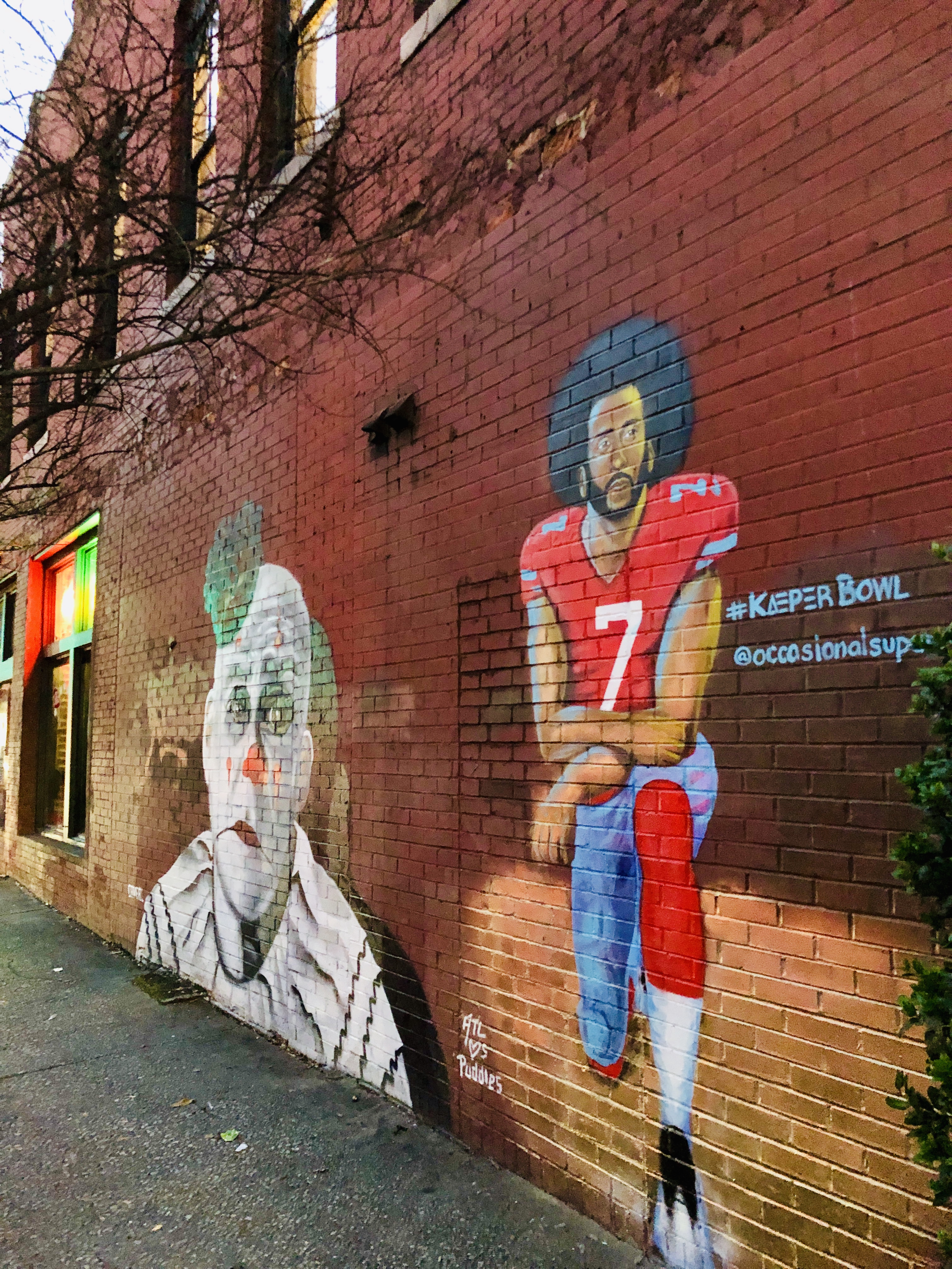 Mural of Colin Kaepernick at Sister Louisa's on Edgewood Avenue in the Old Fourth Ward