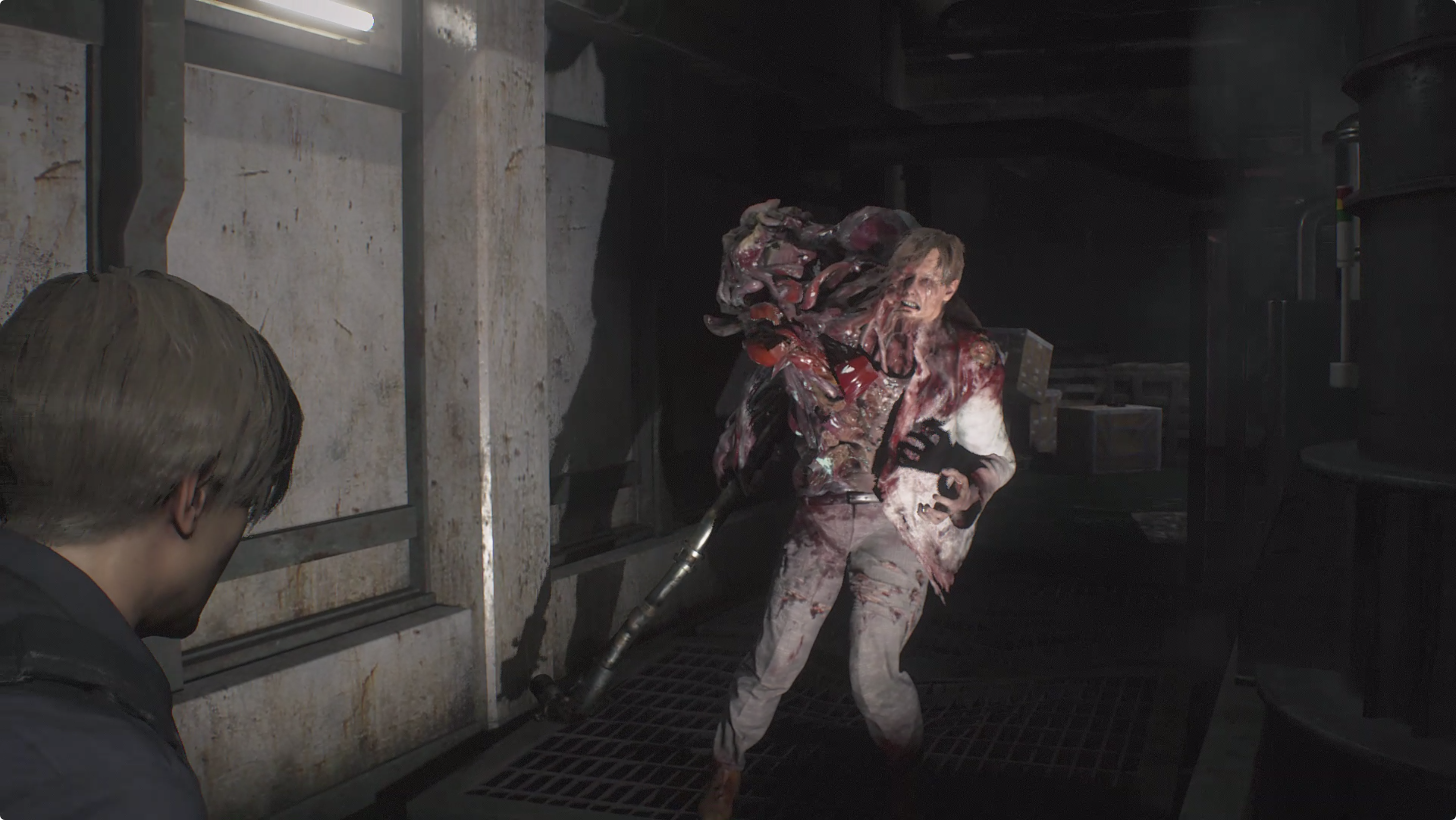 Resident Evil 2 Leon [2nd] Machinery Room boss fight