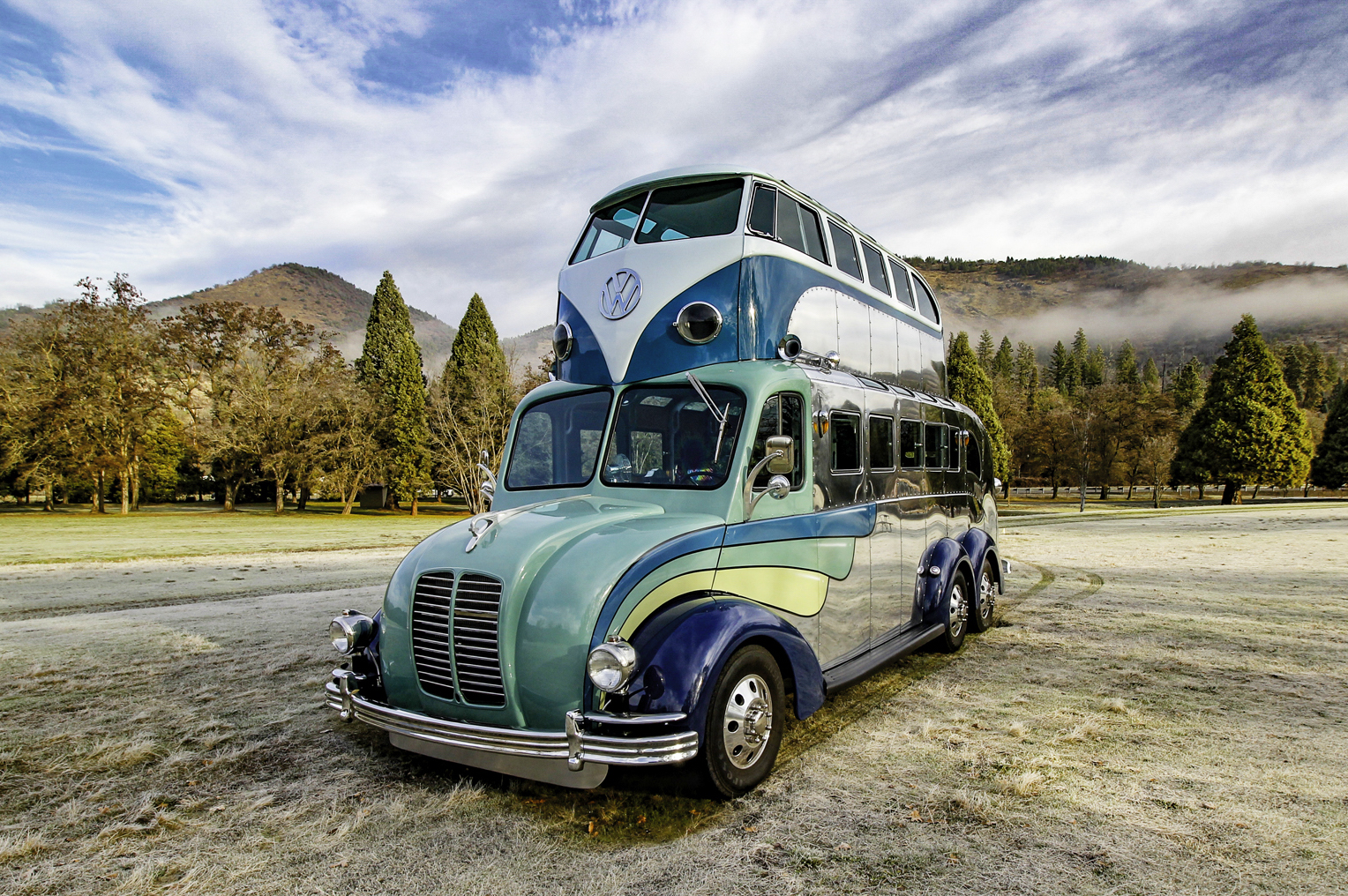 Double decker VW camper sits atop art deco-inspired 'Magic Bus'